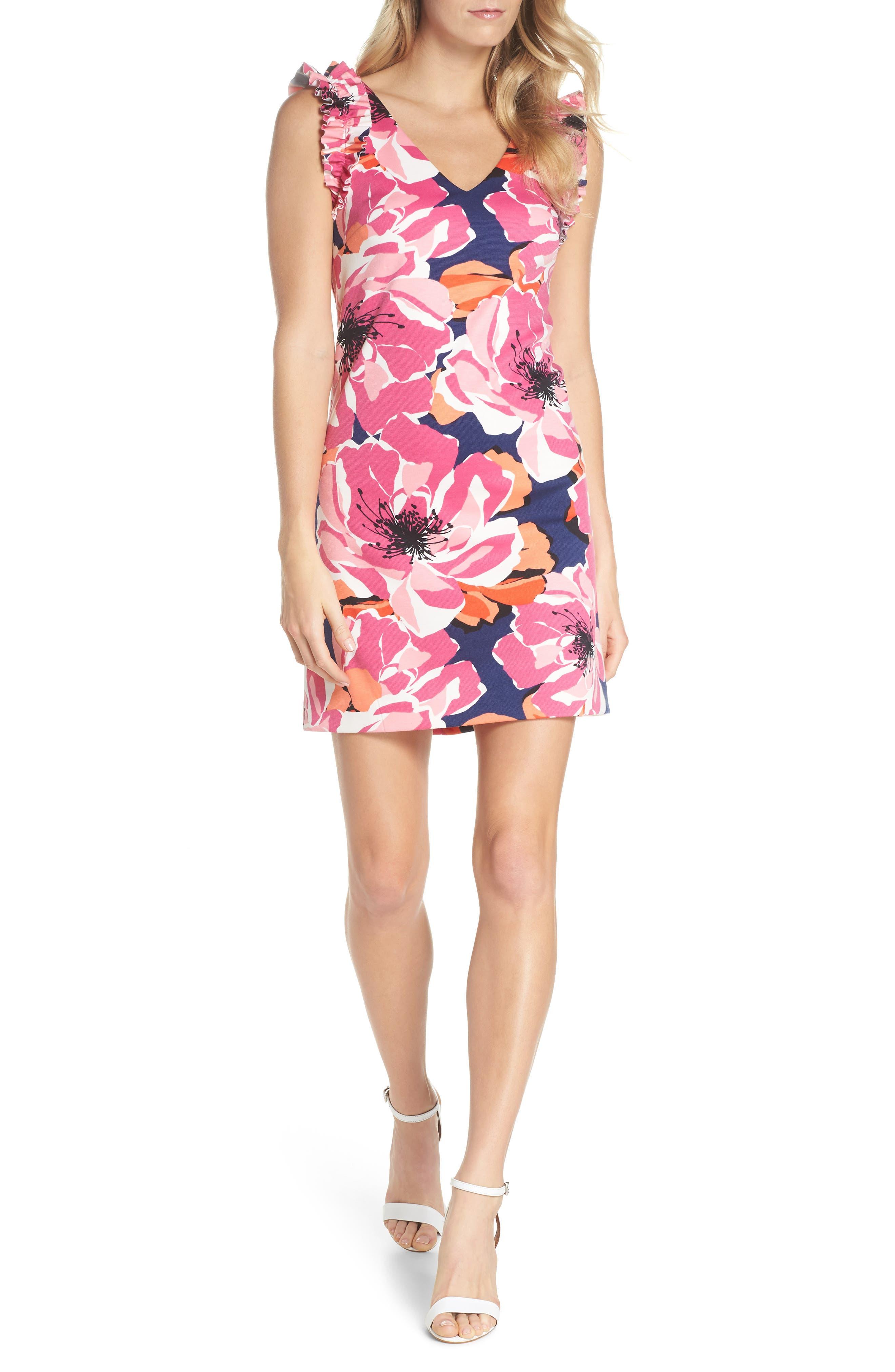 TRINA TRINA TURK Sirena Ruffle Sheath Dress, Main, color, 650