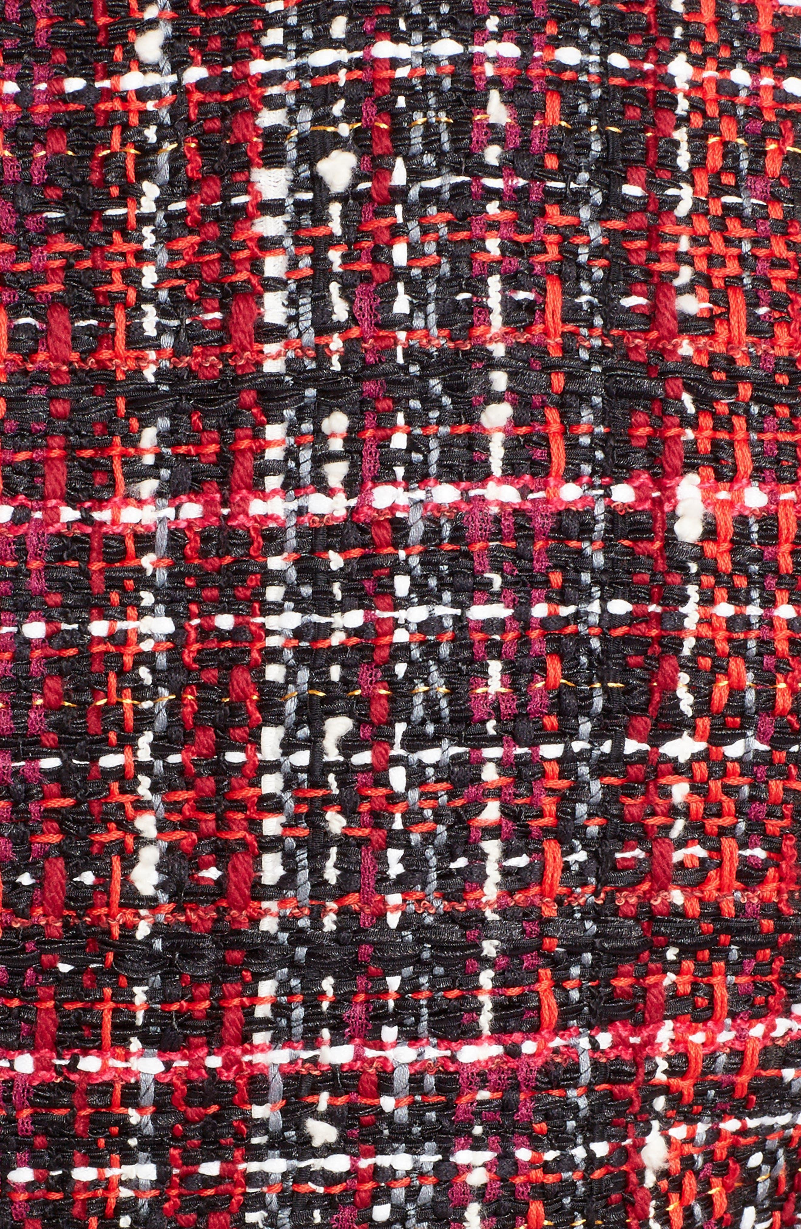 Leather Trim Tweed Minidress,                             Alternate thumbnail 5, color,                             BLACK MIX