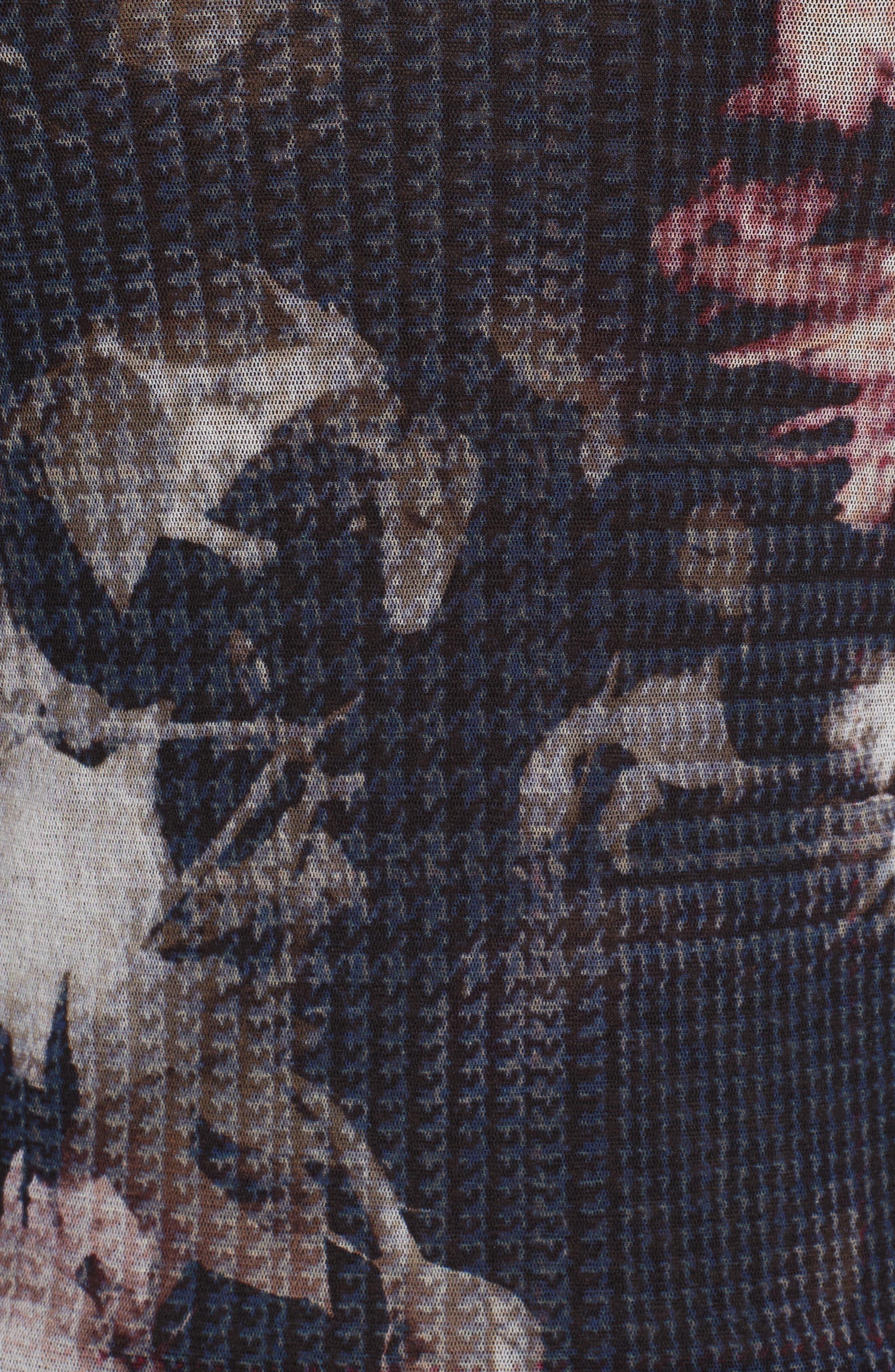 Floral Print Tulle Off the Shoulder Top,                             Alternate thumbnail 5, color,                             001