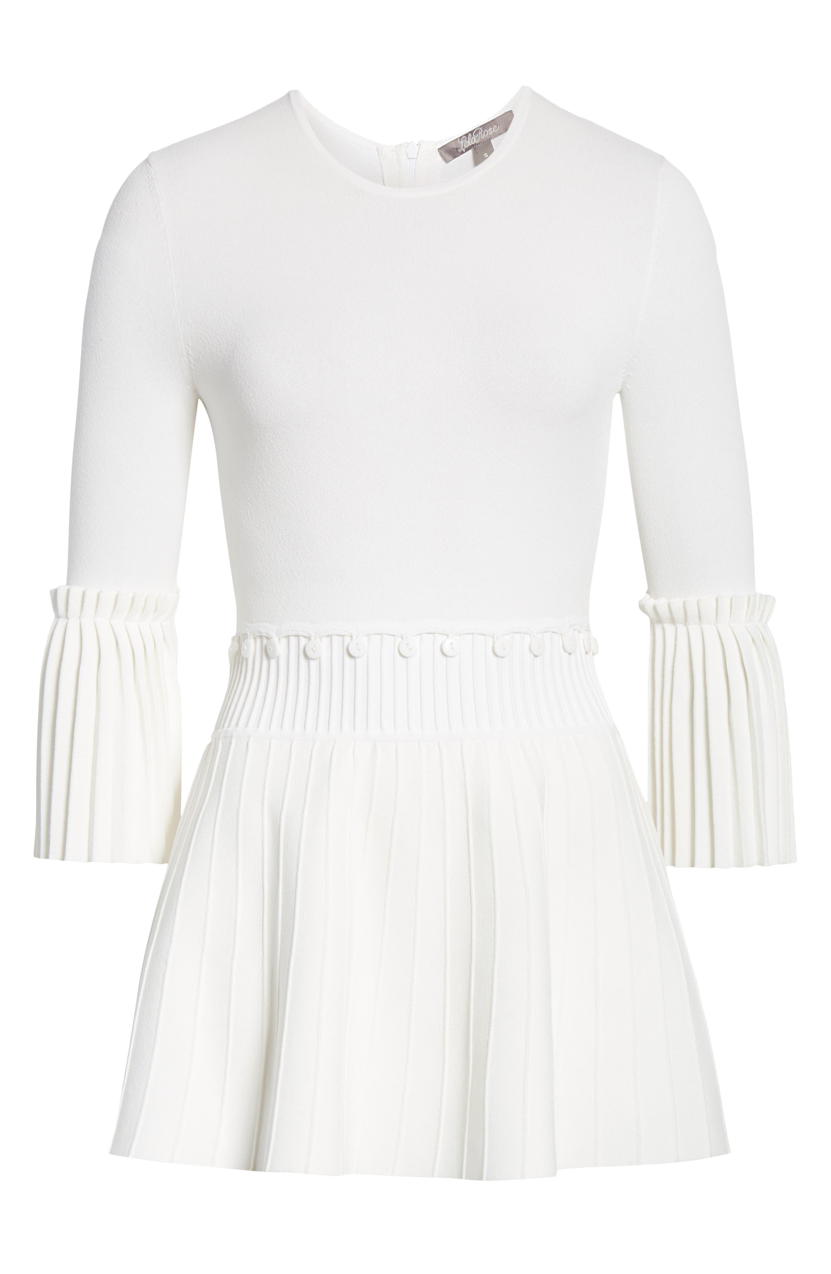 LELA ROSE,                             Pleated Knit Top,                             Alternate thumbnail 6, color,                             WHITE