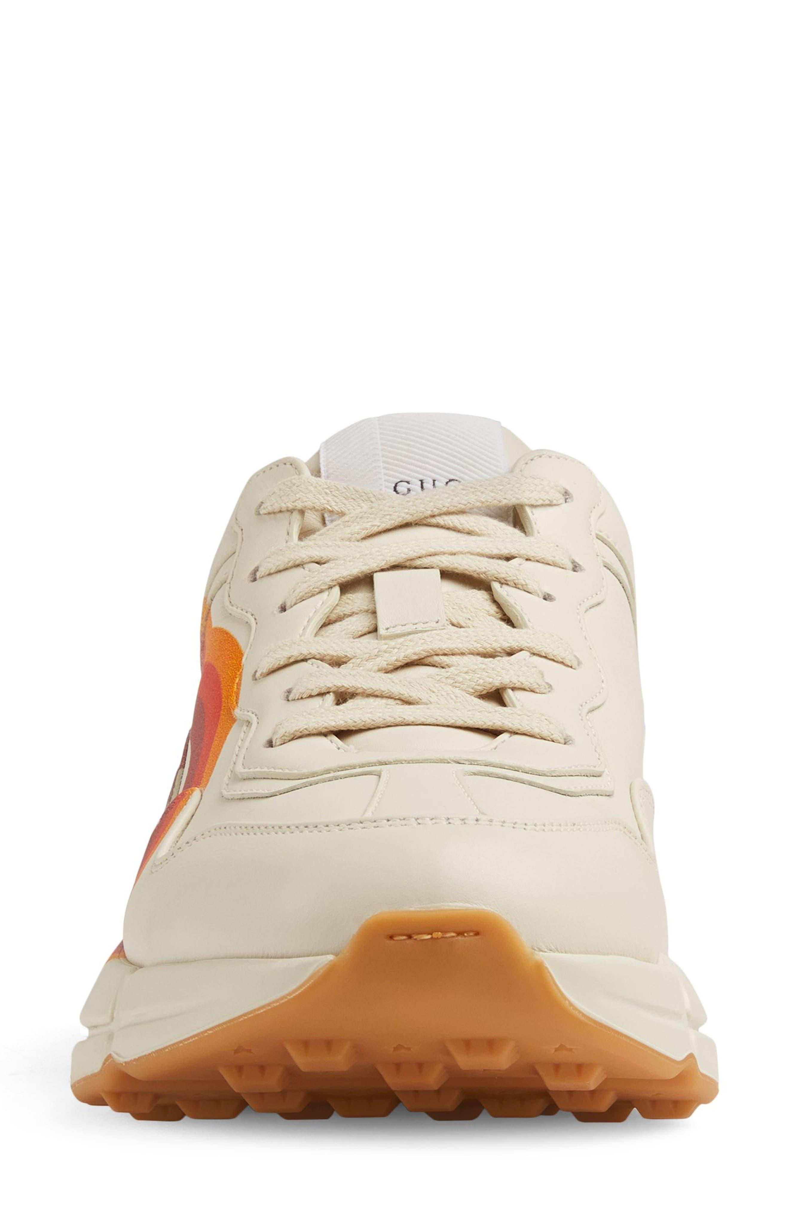 Rhyton Double G Sneaker,                             Alternate thumbnail 3, color,                             MYSTIC WHITE