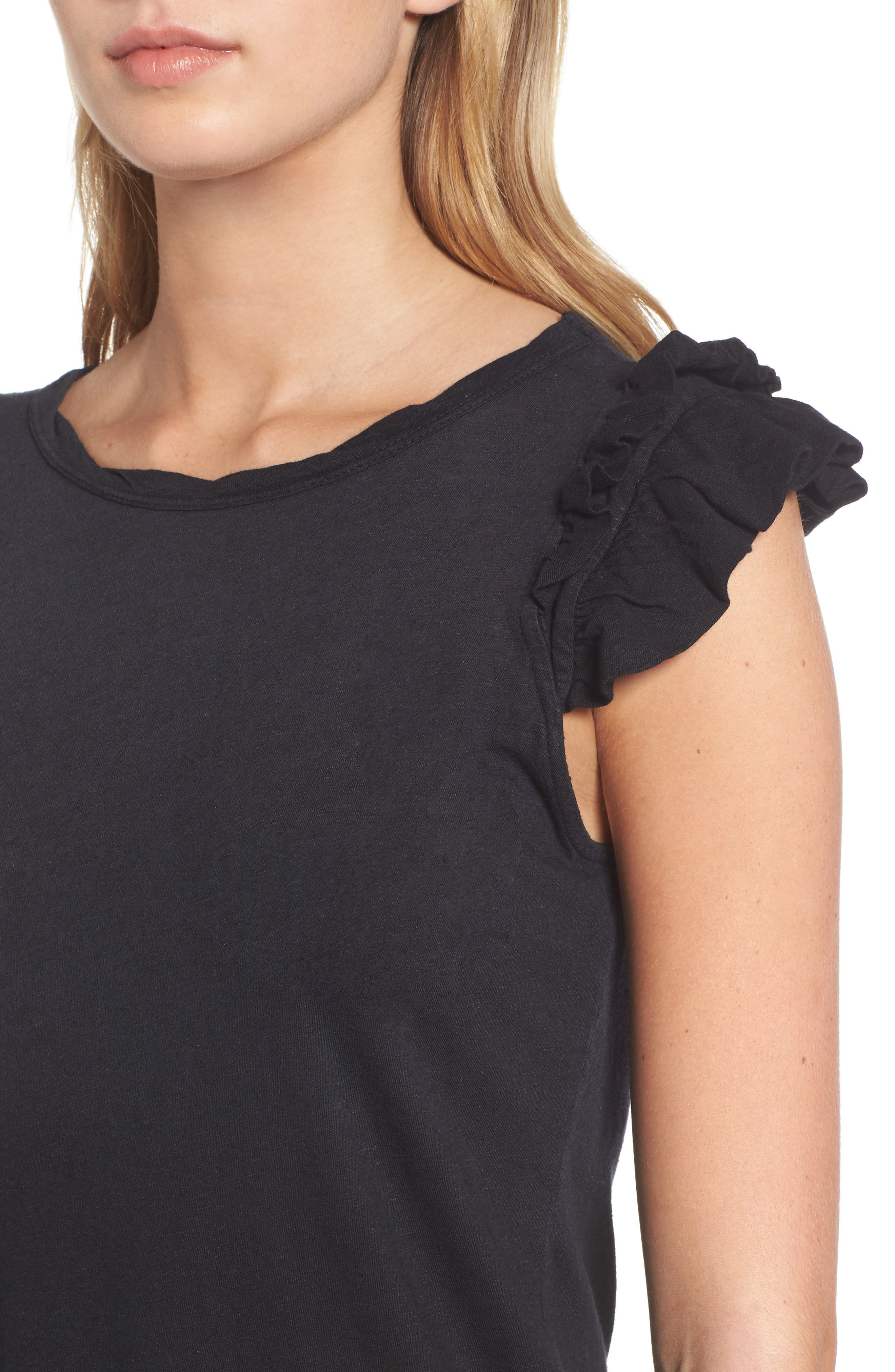 The Double Ruffle Muscle Tee,                             Alternate thumbnail 4, color,                             005