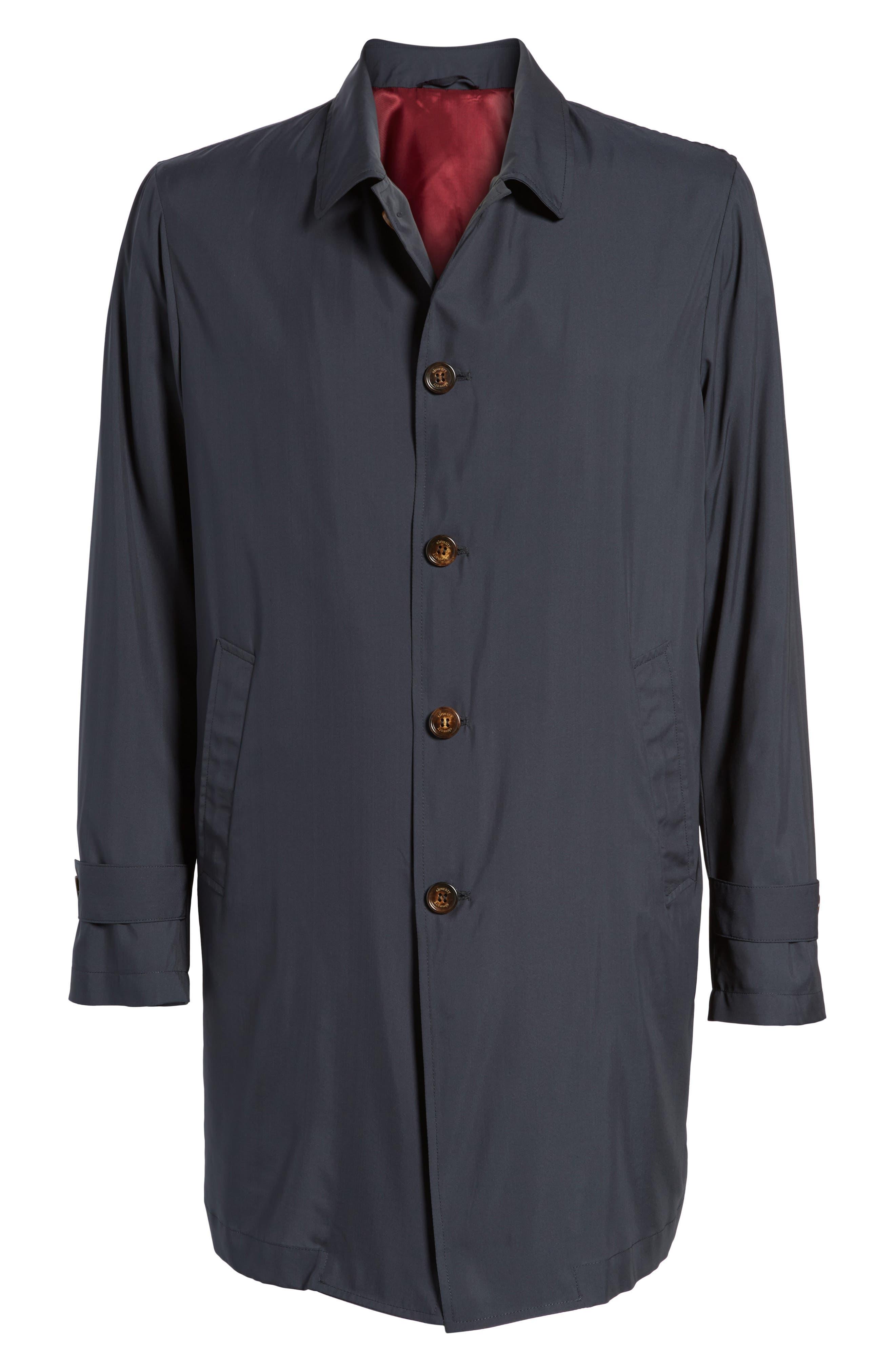 Trim Fit Water-Resistant Silk Topcoat,                             Alternate thumbnail 5, color,                             410