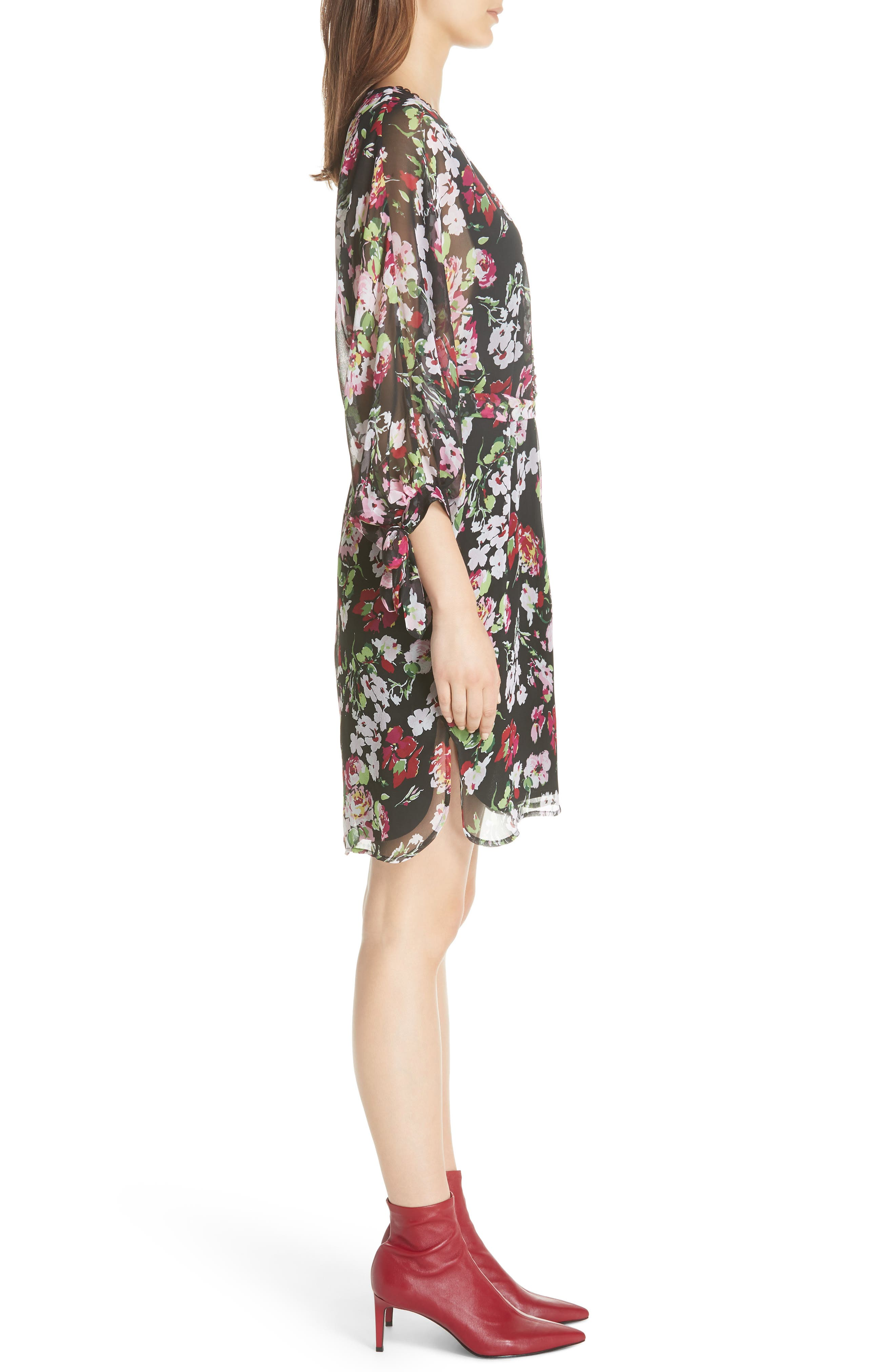 Natasha Floral Print Silk Dress,                             Alternate thumbnail 3, color,                             TRUE BLACK MULTI