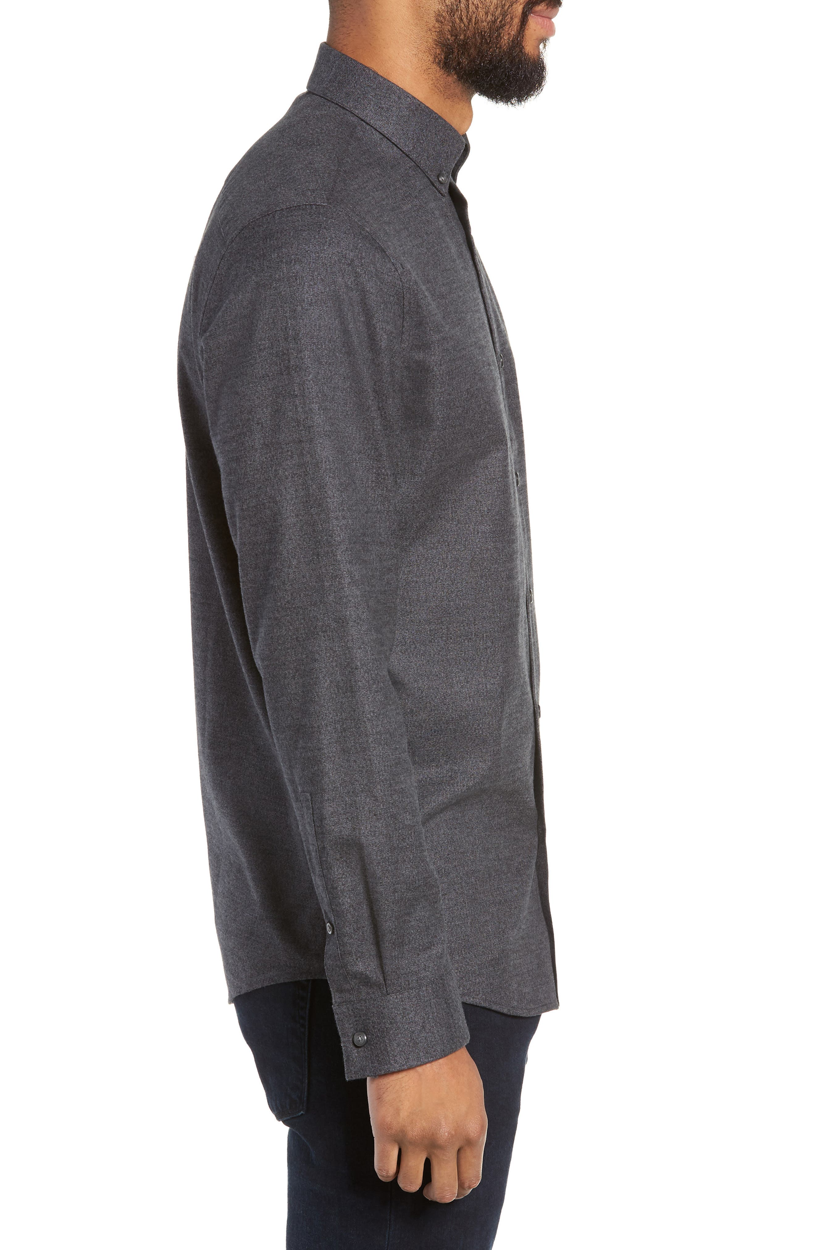 Slim Fit Mini Collar Mélange Sport Shirt,                             Alternate thumbnail 4, color,                             GREY TORNADO JASPE