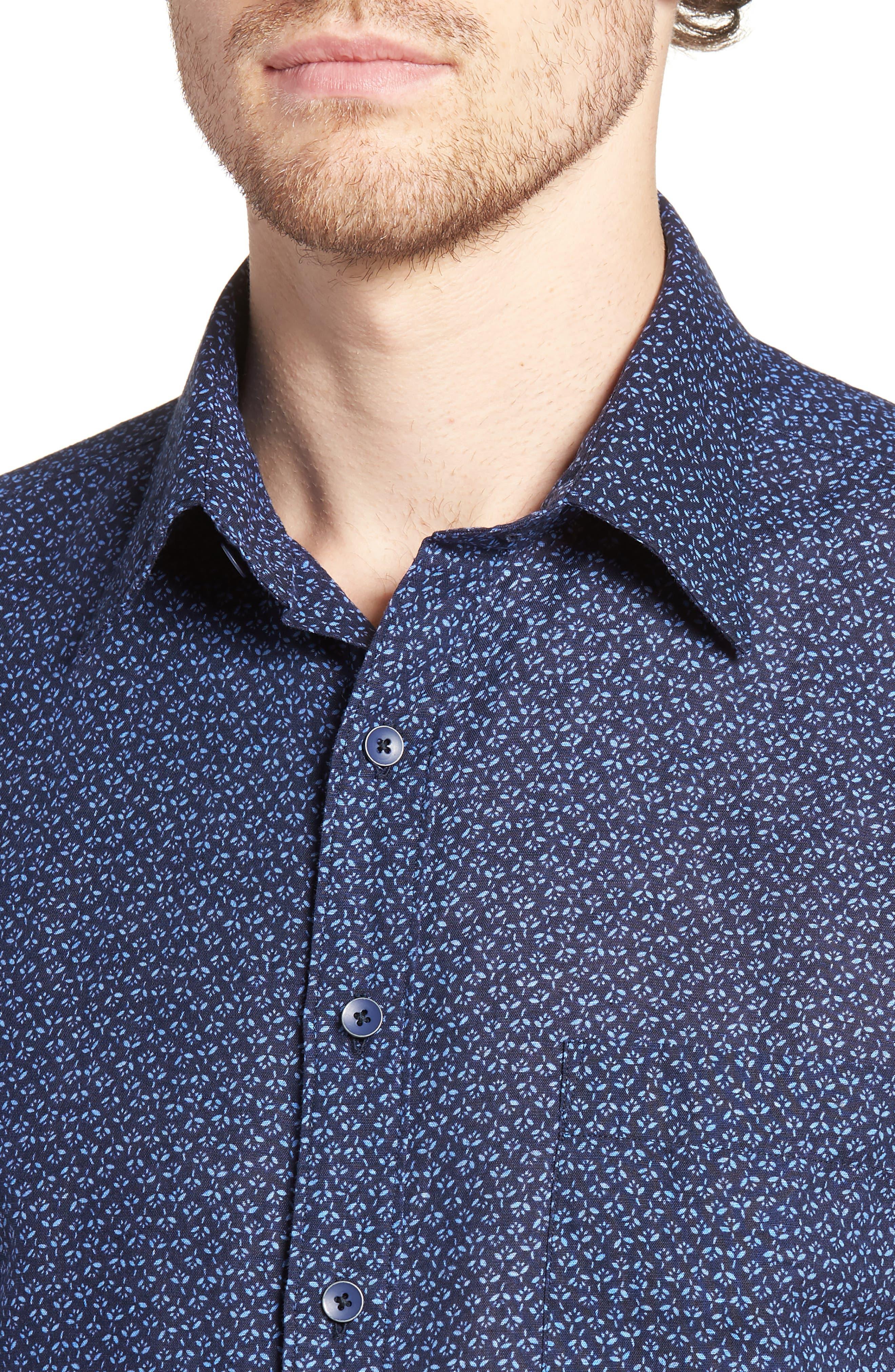 Windermere Linen & Cotton Sport Shirt,                             Alternate thumbnail 4, color,                             INDIGO