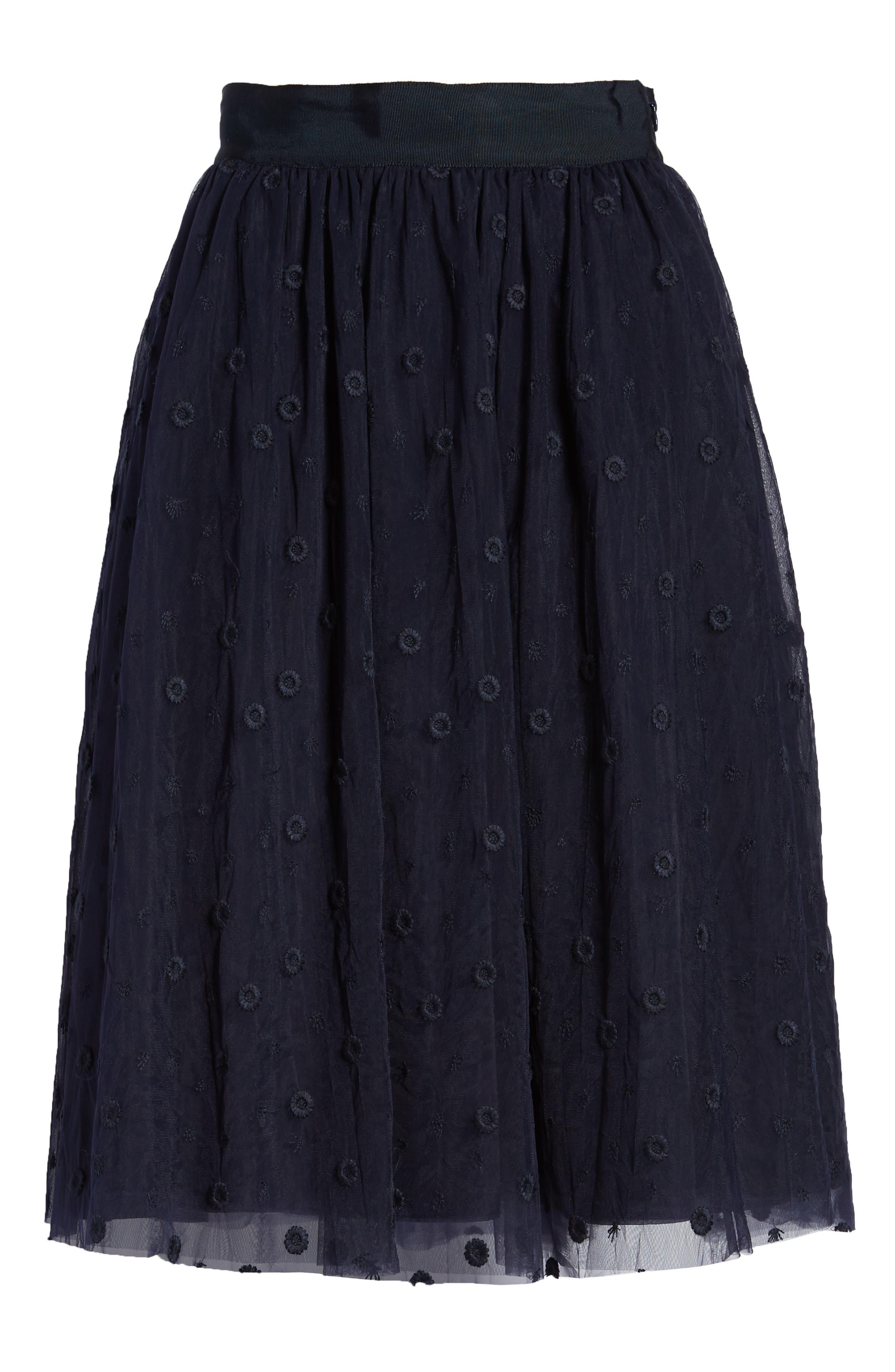Embroidered Tulle Skirt,                             Alternate thumbnail 6, color,                             410
