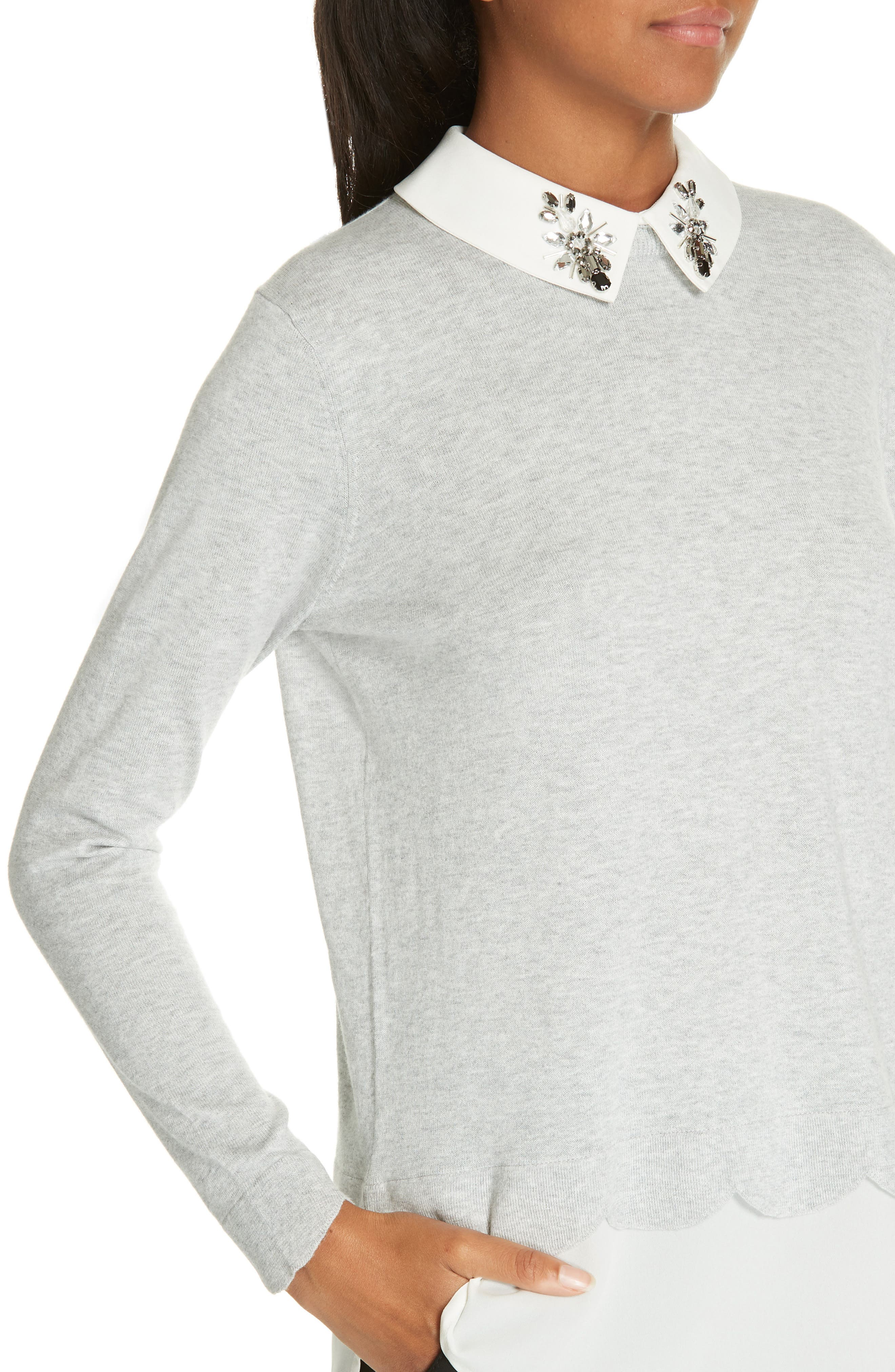Suzaine Layered Sweater,                             Alternate thumbnail 4, color,                             GREY