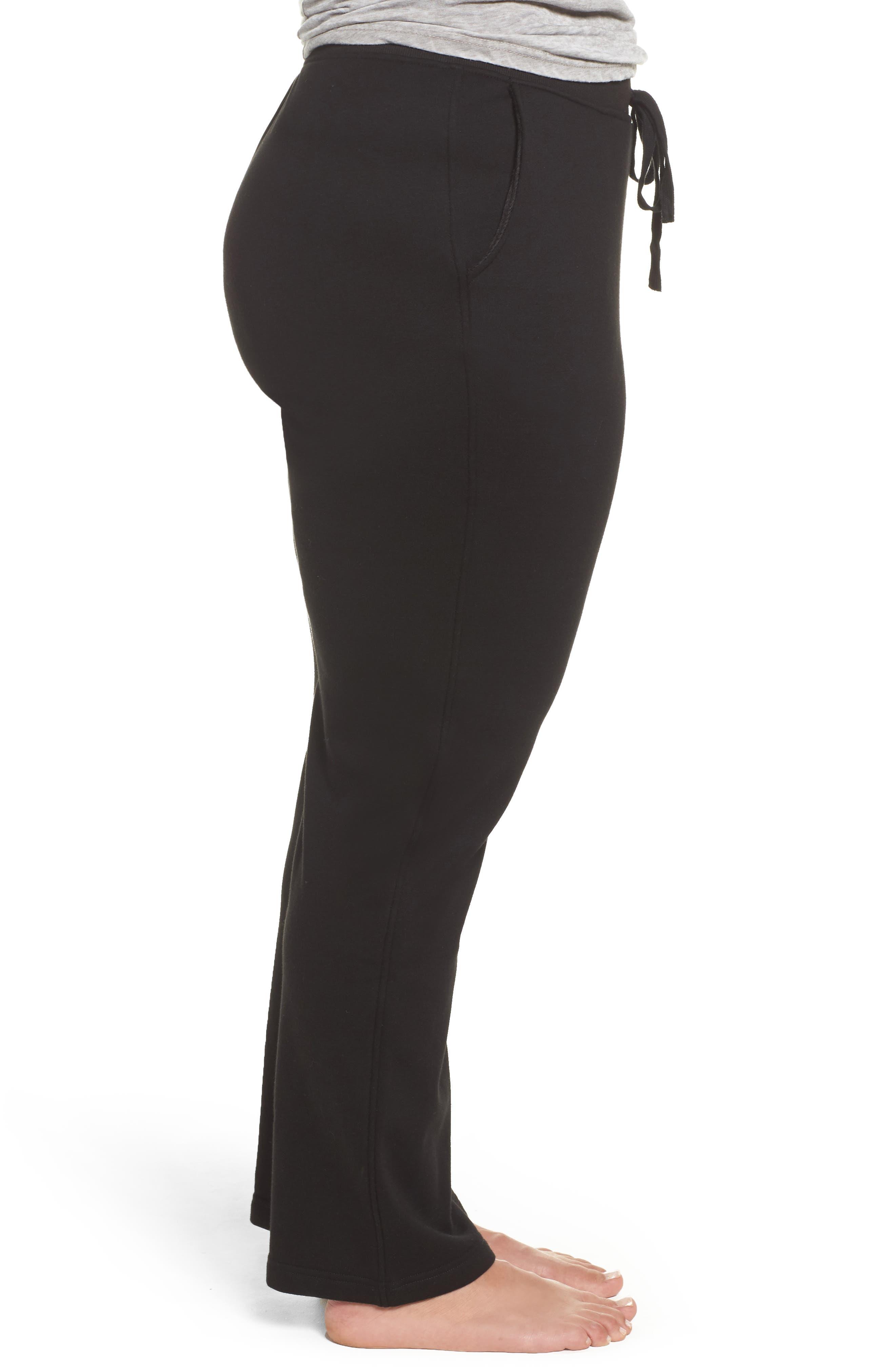 Penny Fleece Sweatpants,                             Alternate thumbnail 3, color,                             BLACK