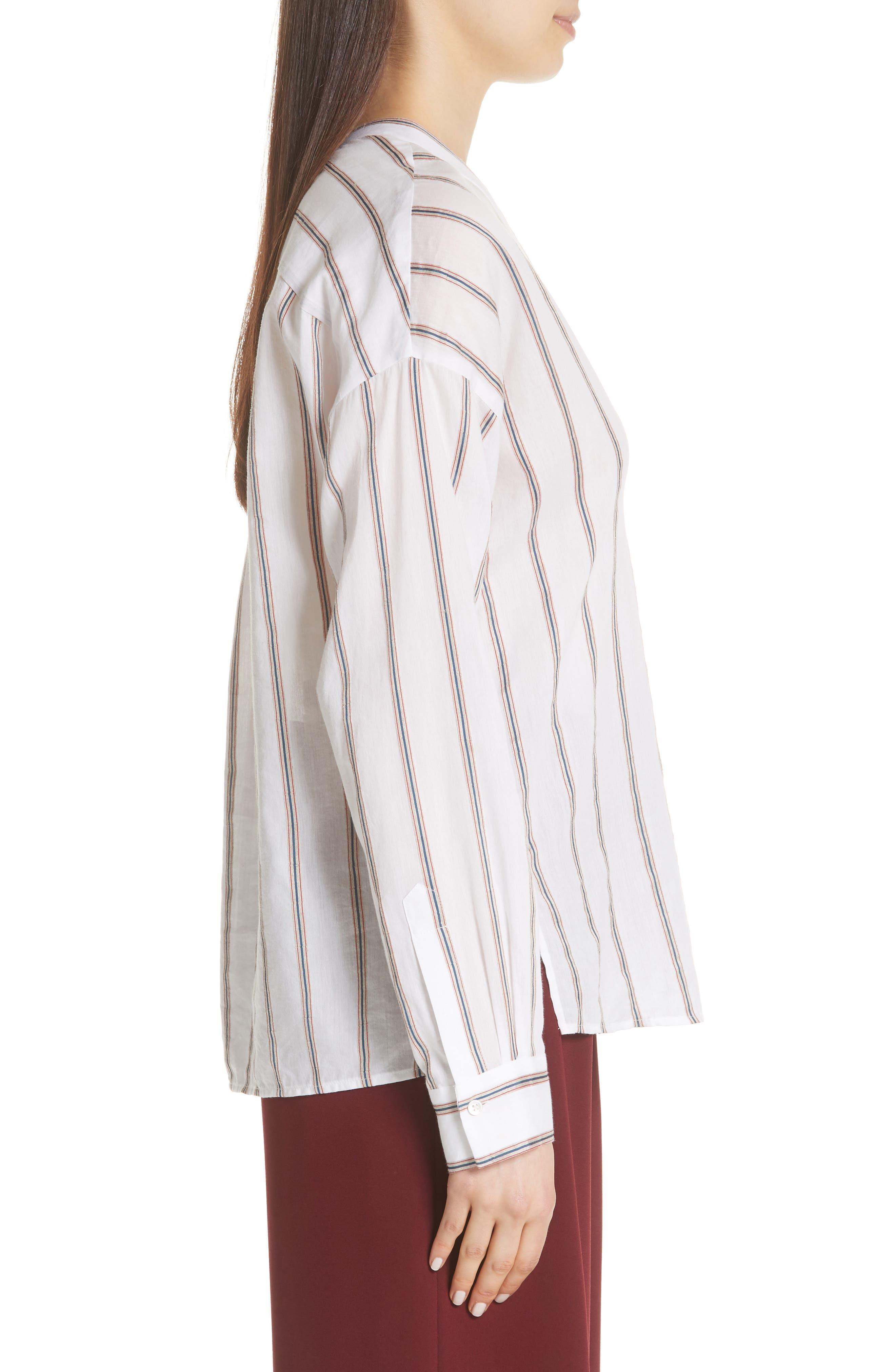 VINCE,                             Textured Stripe Blouse,                             Alternate thumbnail 3, color,                             137