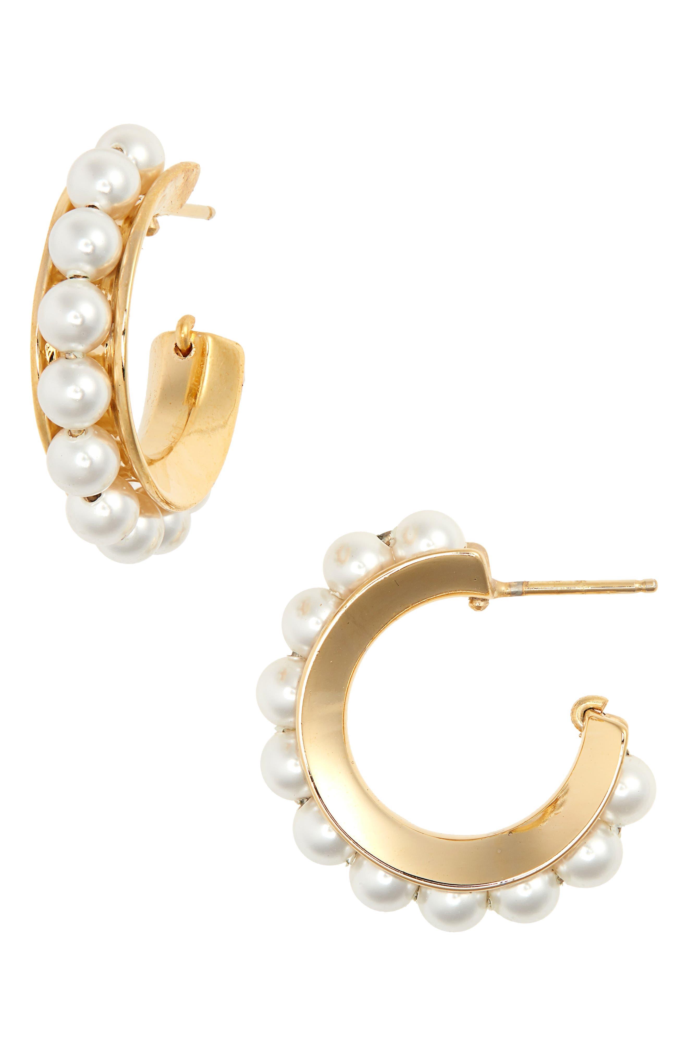 SOPHIE BUHAI Imitation Pearl Hoop Earrings in 18K Gold Vermeil