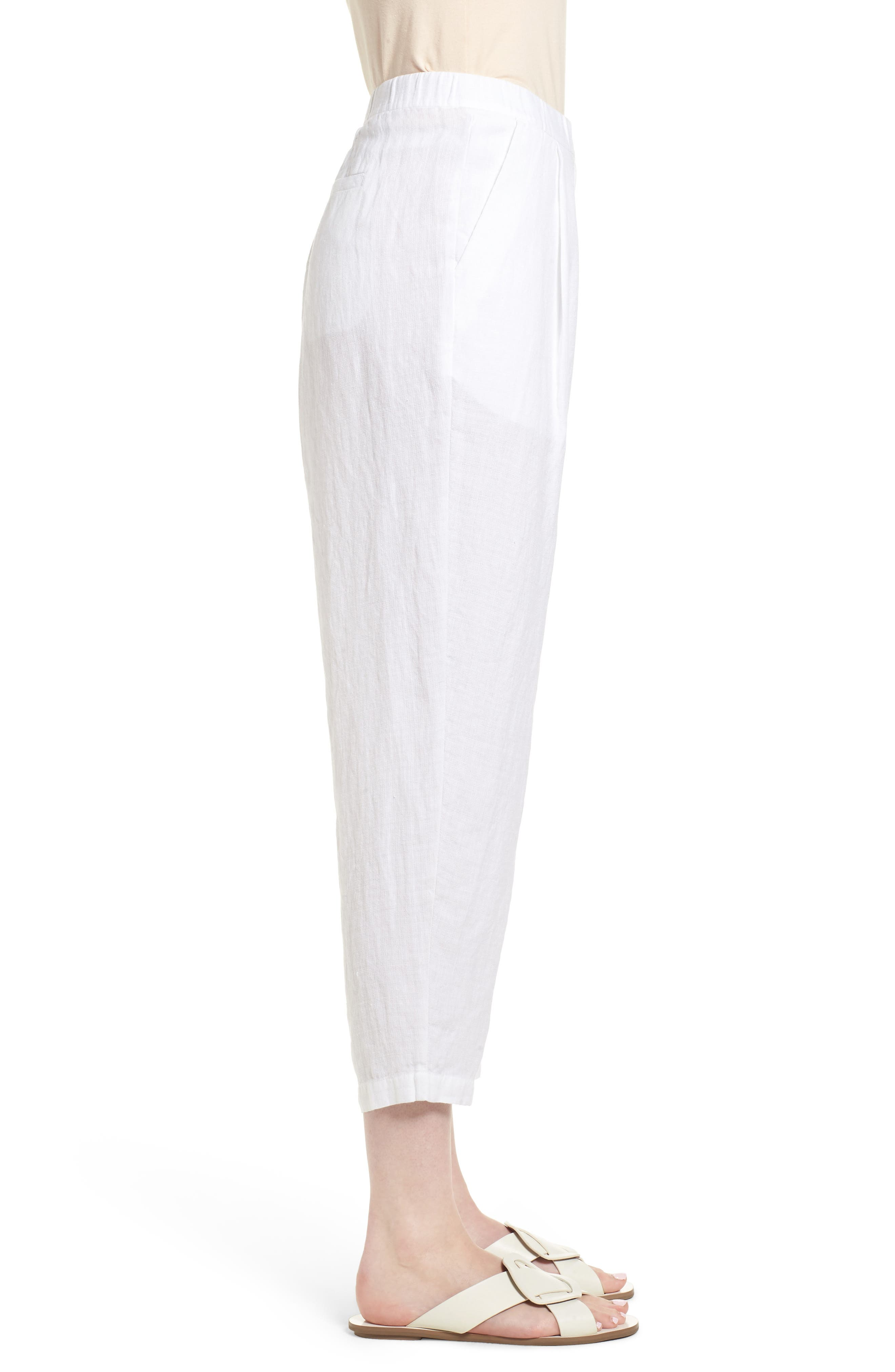 Pleated Linen Blend Ankle Trousers,                             Alternate thumbnail 7, color,