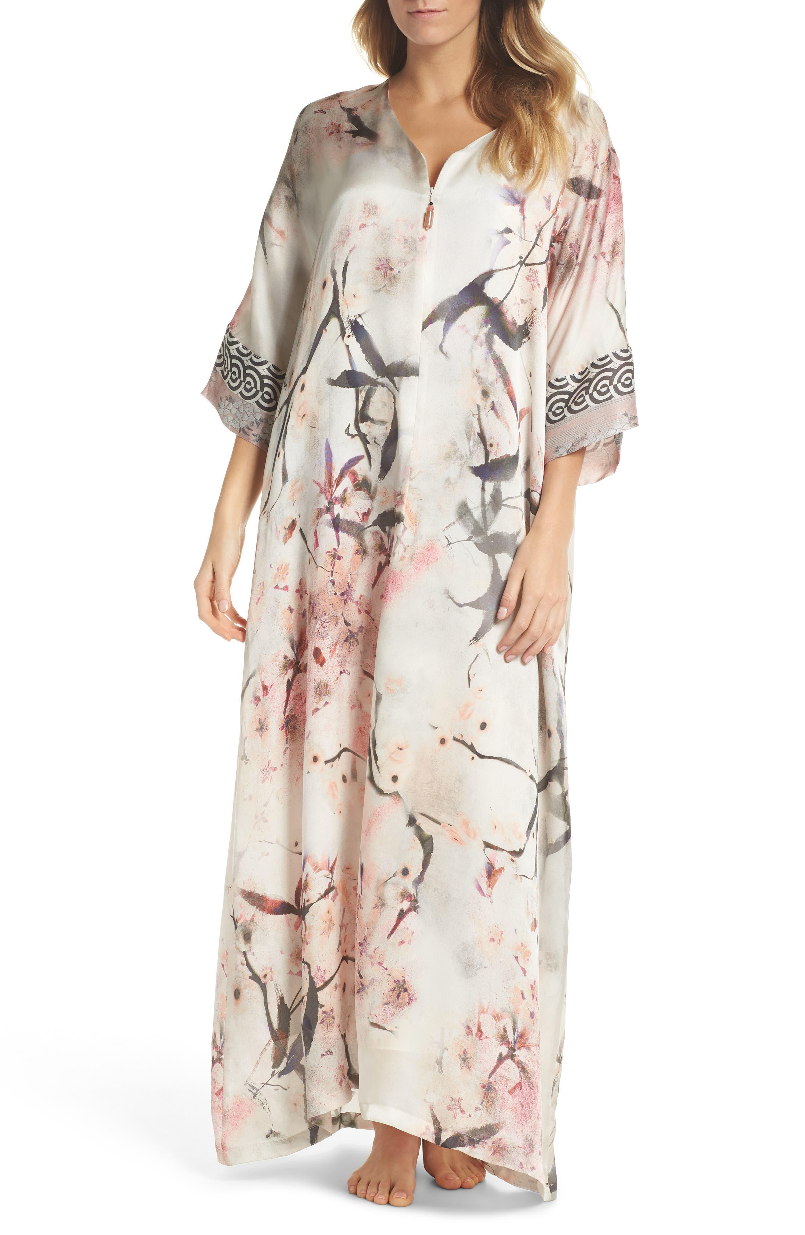 Print Silk Caftan,                         Main,                         color, NIGHTINGALE PRINT