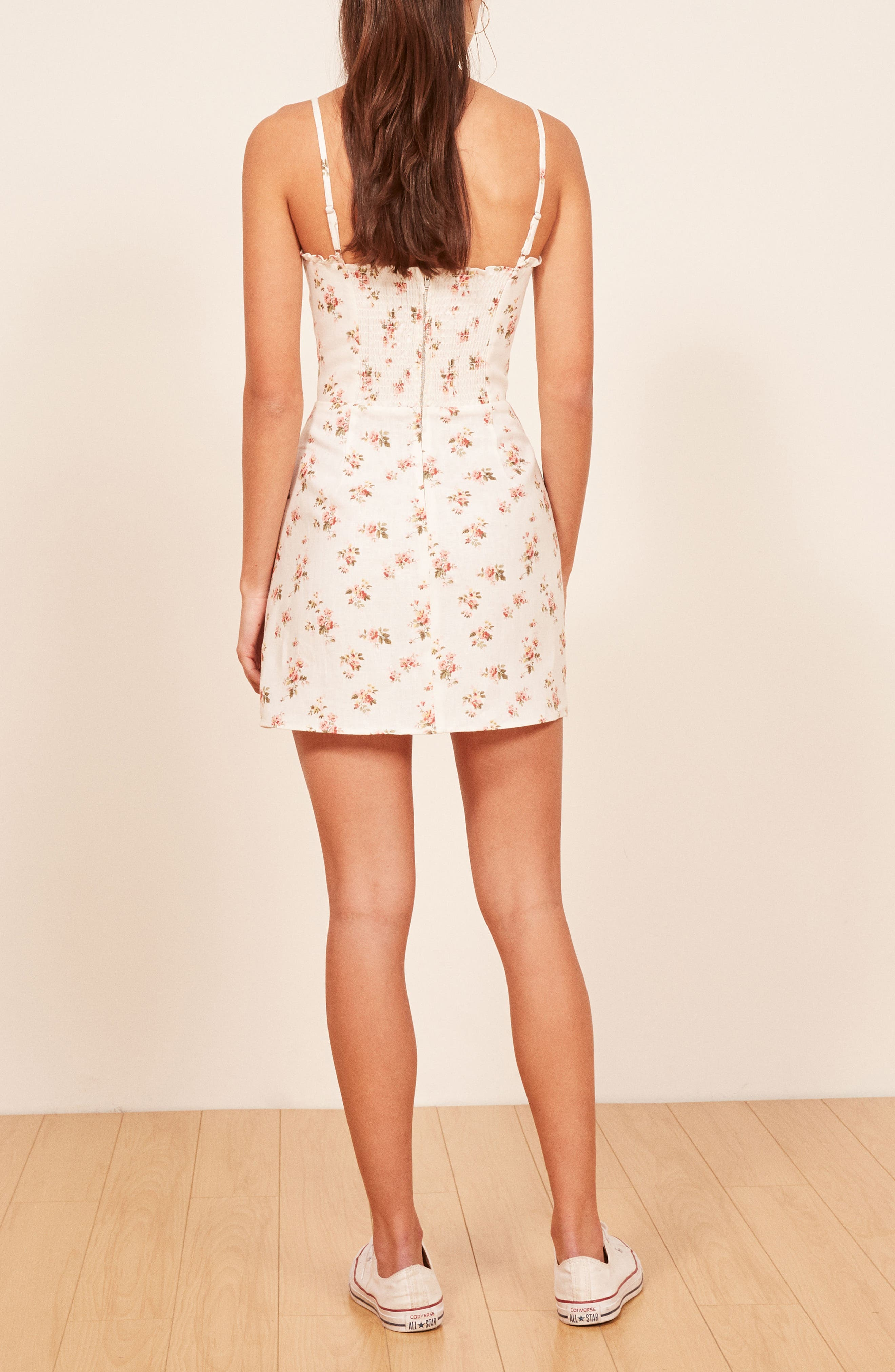 Ava Ruffle Linen Minidress,                             Alternate thumbnail 2, color,                             100