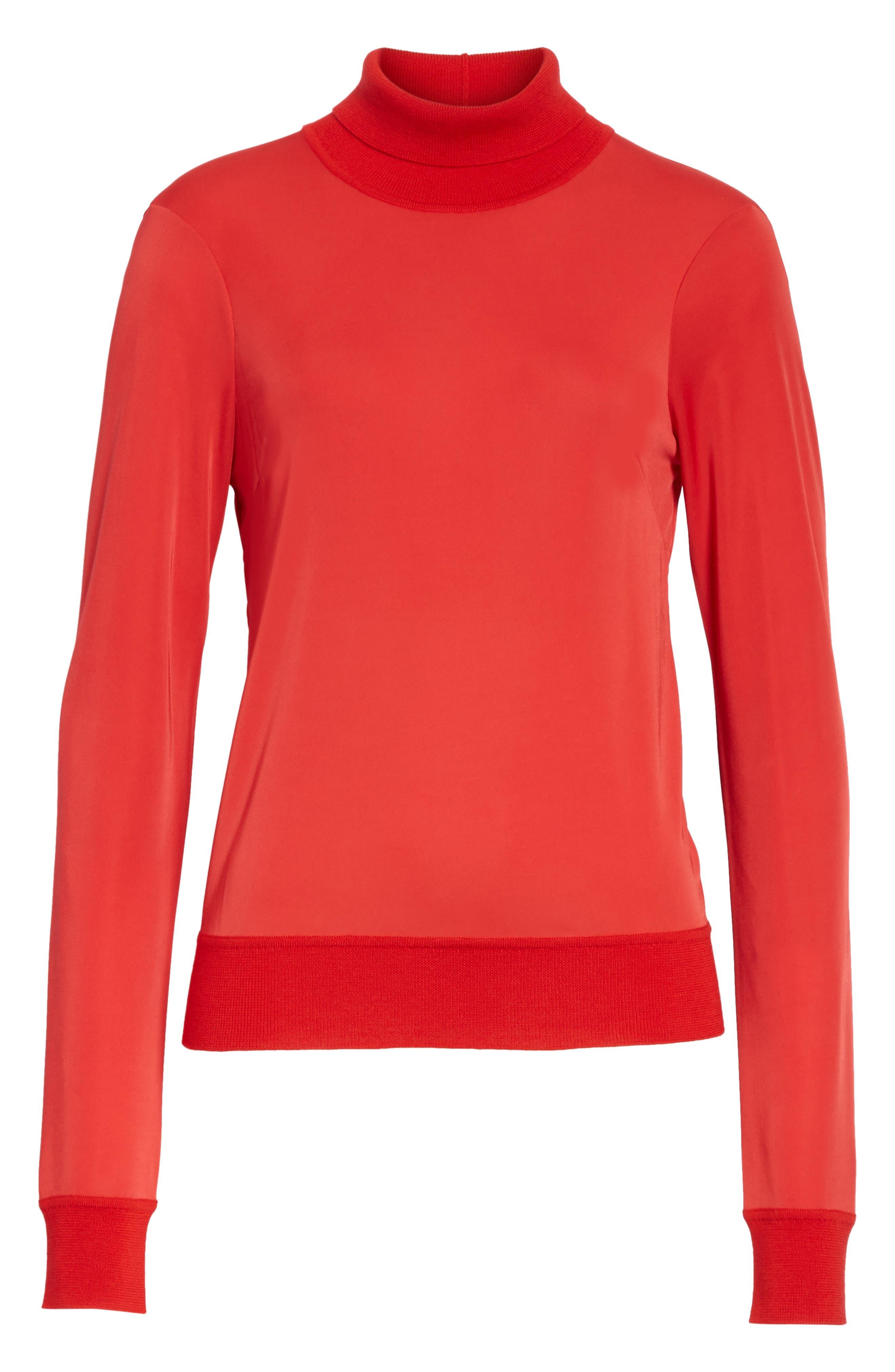 Merino Trim Turtleneck Sweater,                             Alternate thumbnail 12, color,