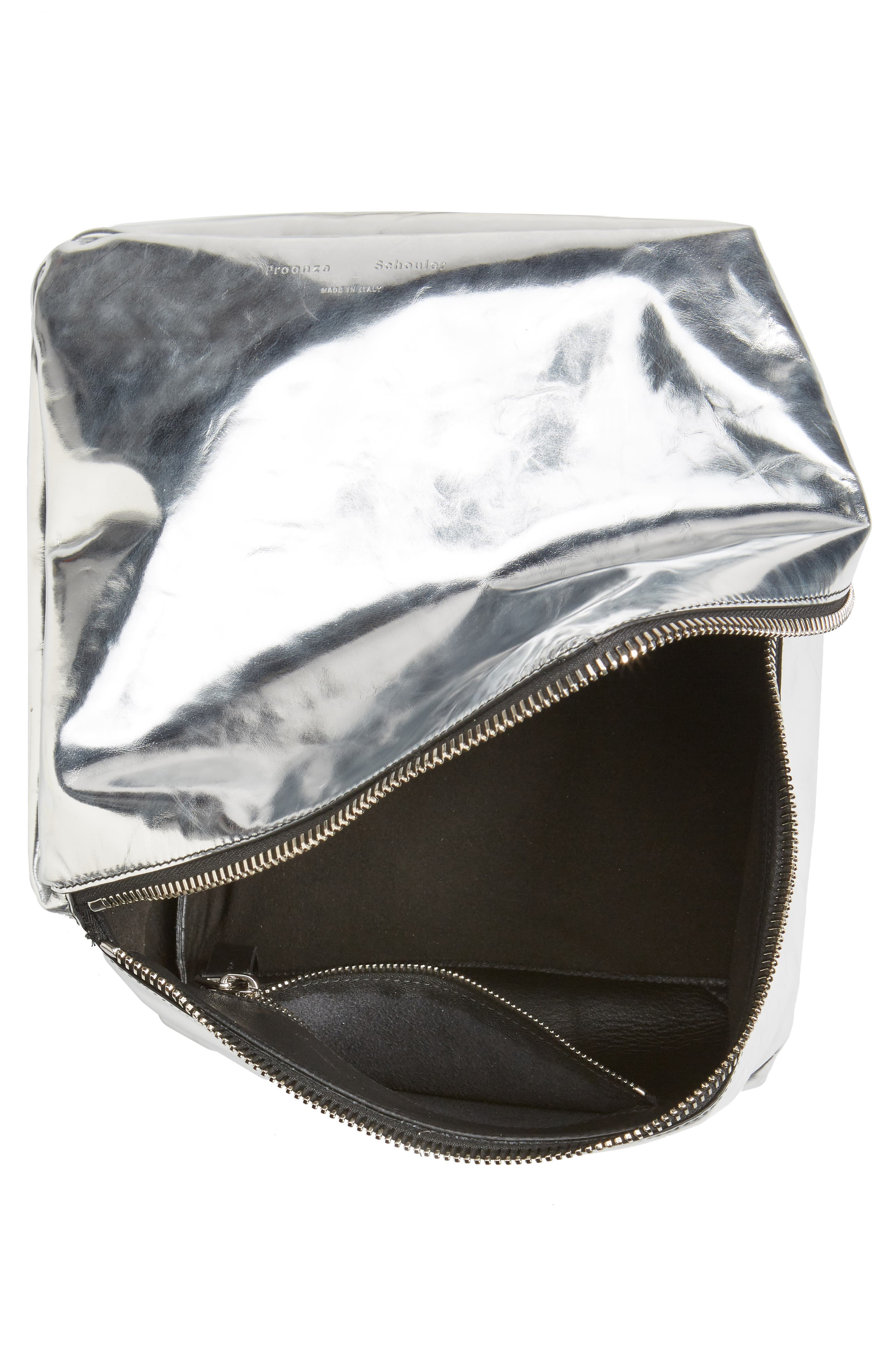 Soft Metallic Leather Cube Bag,                             Alternate thumbnail 4, color,