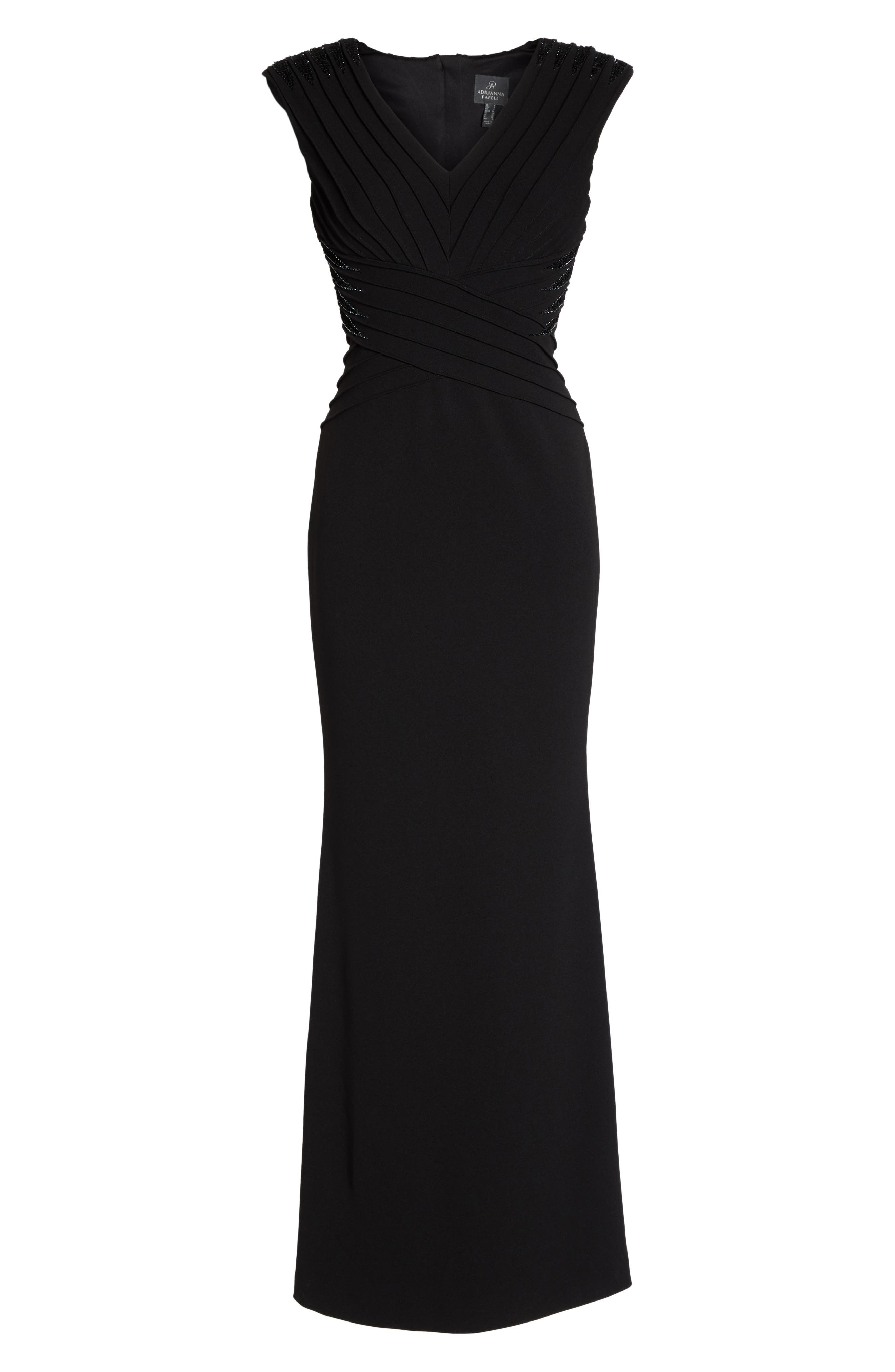 Pintuck Crepe Gown,                             Alternate thumbnail 6, color,