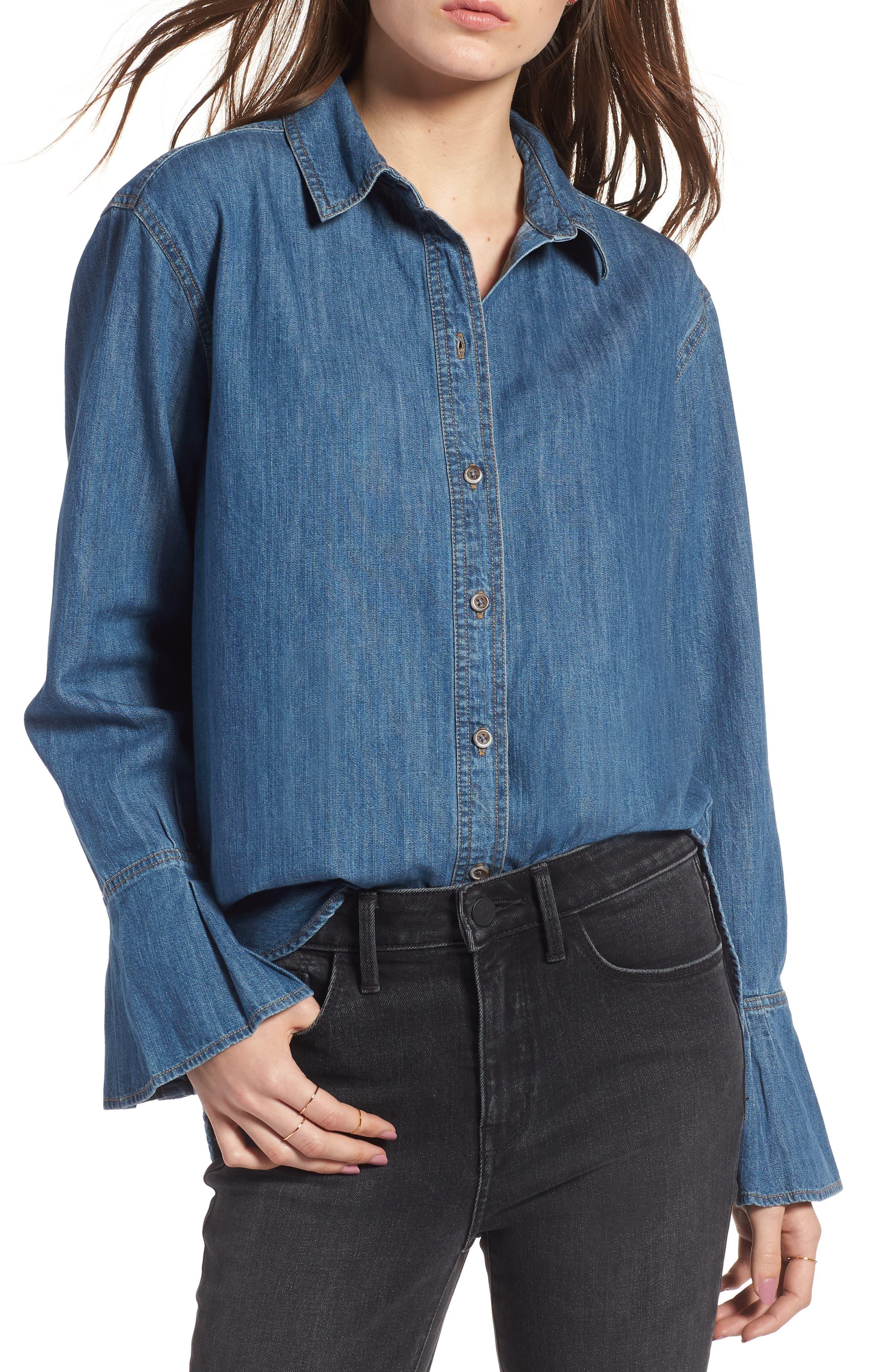 TREASURE & BOND Pleated Cuff Chambray Shirt, Main, color, 420