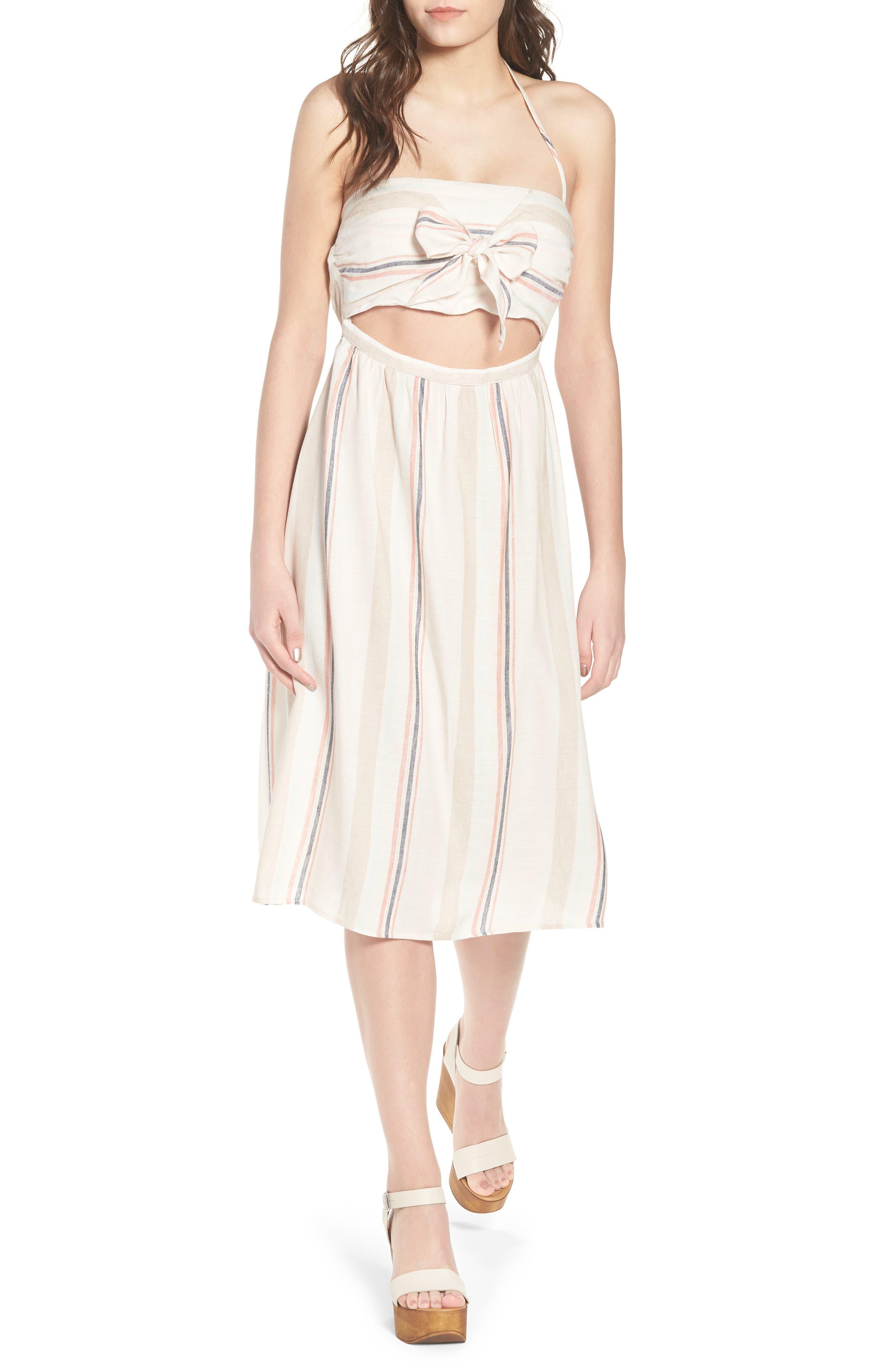 Tie Front Midi Dress,                             Main thumbnail 1, color,