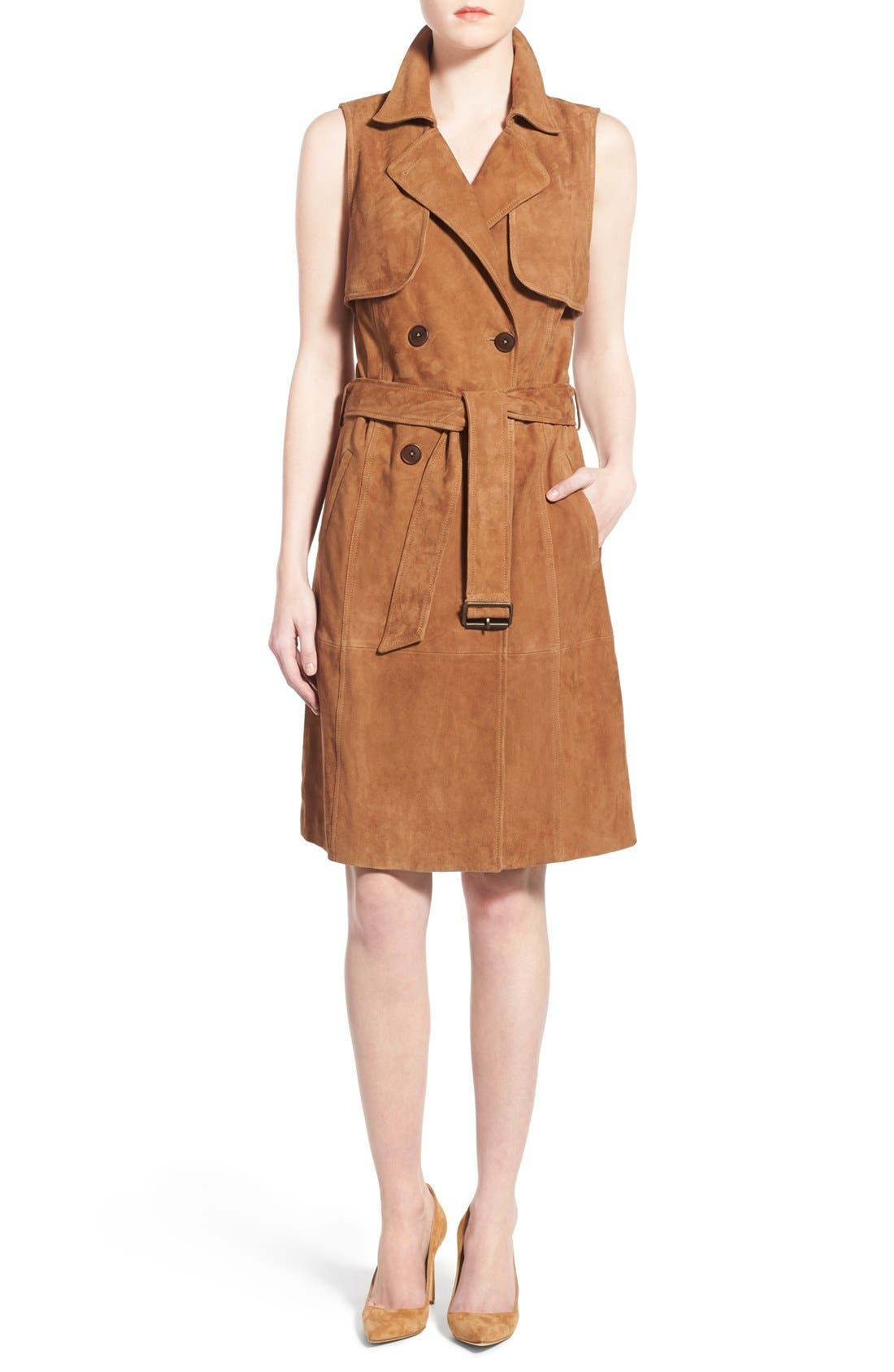 OLIVIA PALERMO + CHELSEA28 Sleeveless Suede Trench Dress, Main, color, 235
