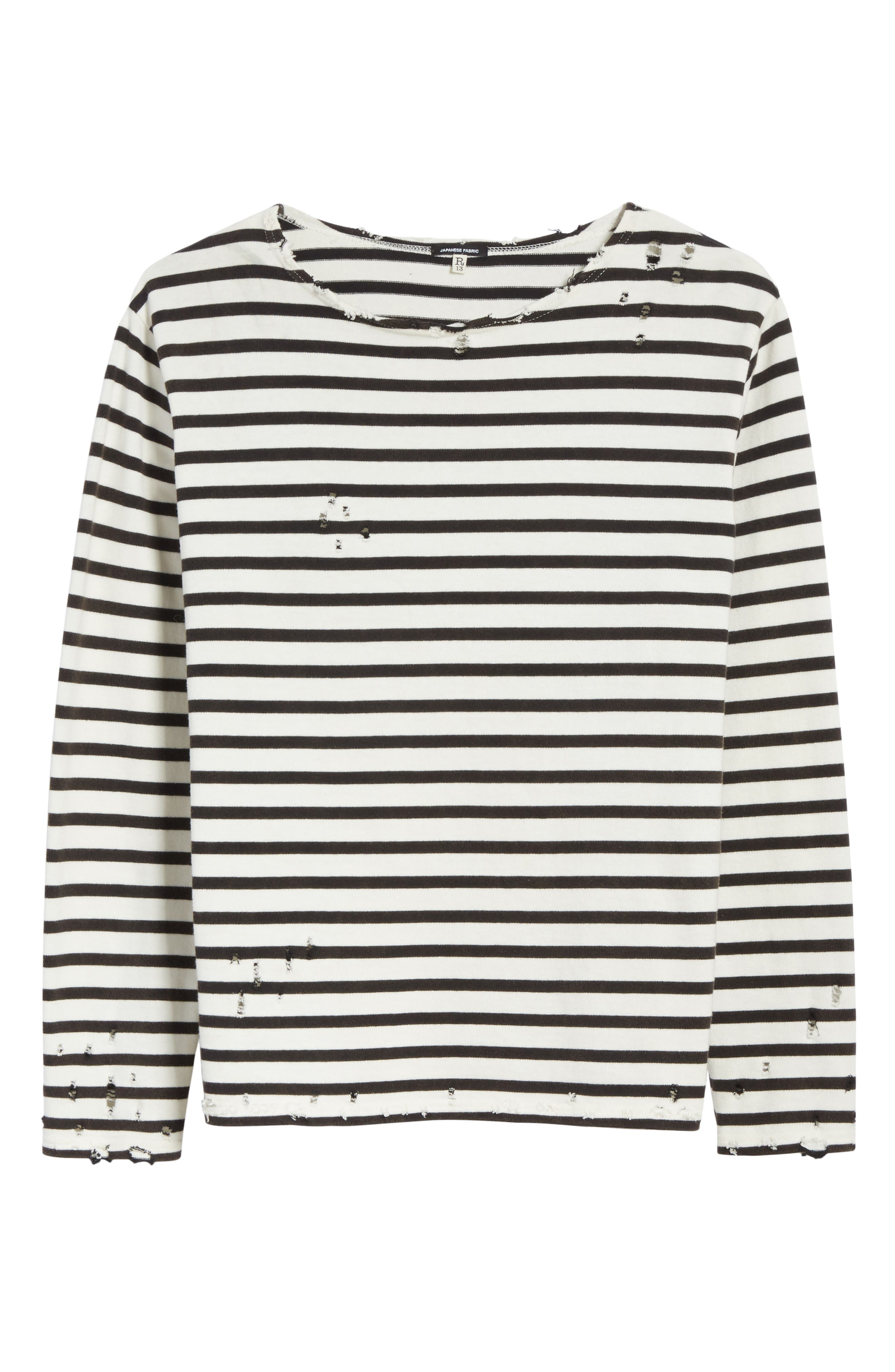 Distressed Stripe Long Sleeve T-Shirt,                             Alternate thumbnail 6, color,                             BLACK W/ ECRU