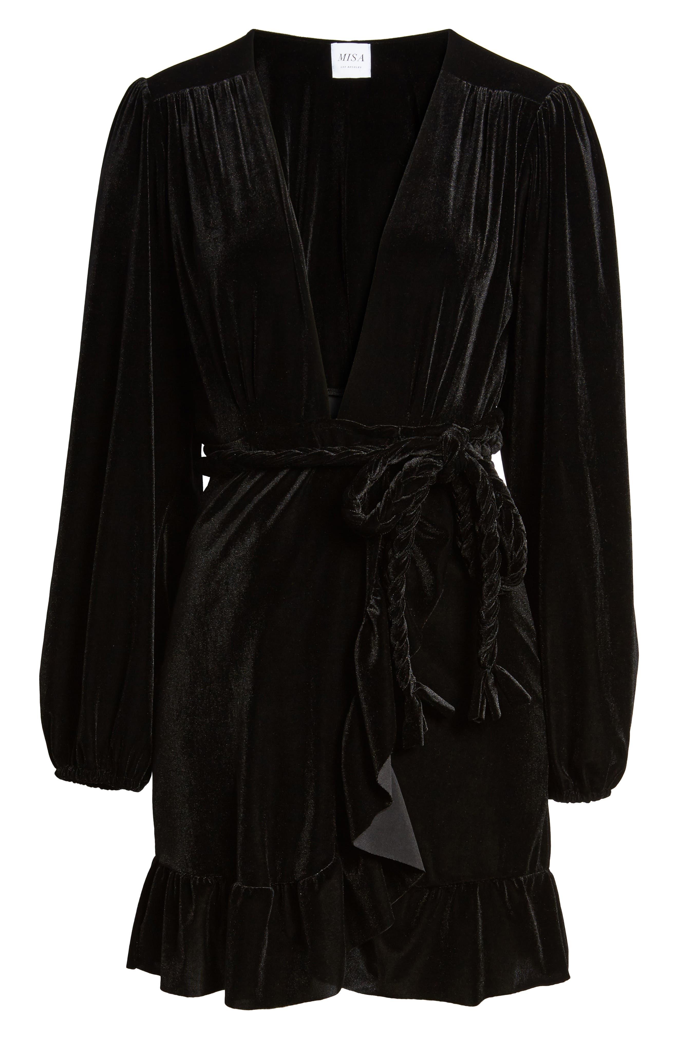 Agne Velvet Wrap Dress,                             Alternate thumbnail 6, color,                             013