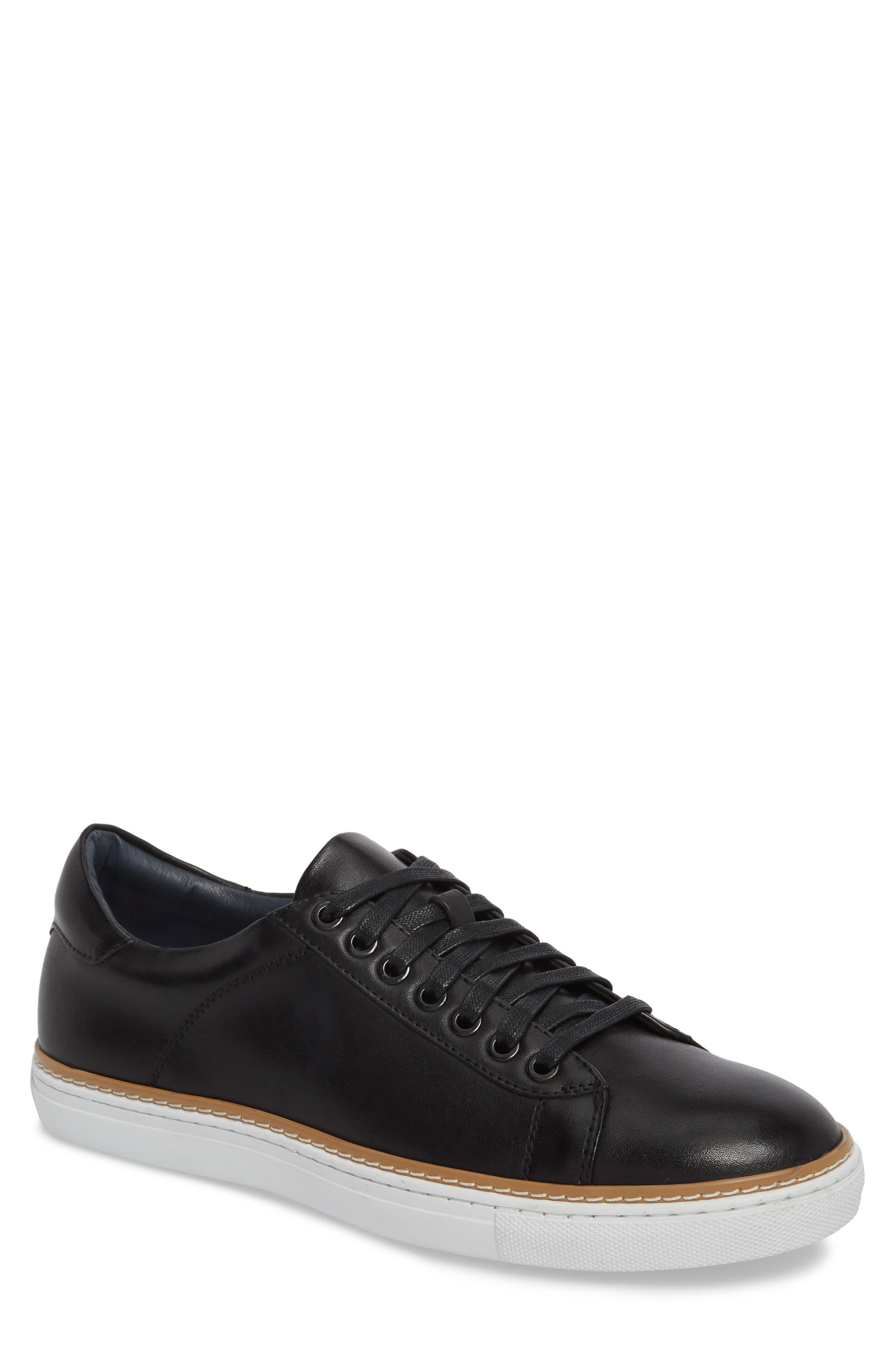 Juniper Low Top Sneaker,                         Main,                         color, BLACK LEATHER