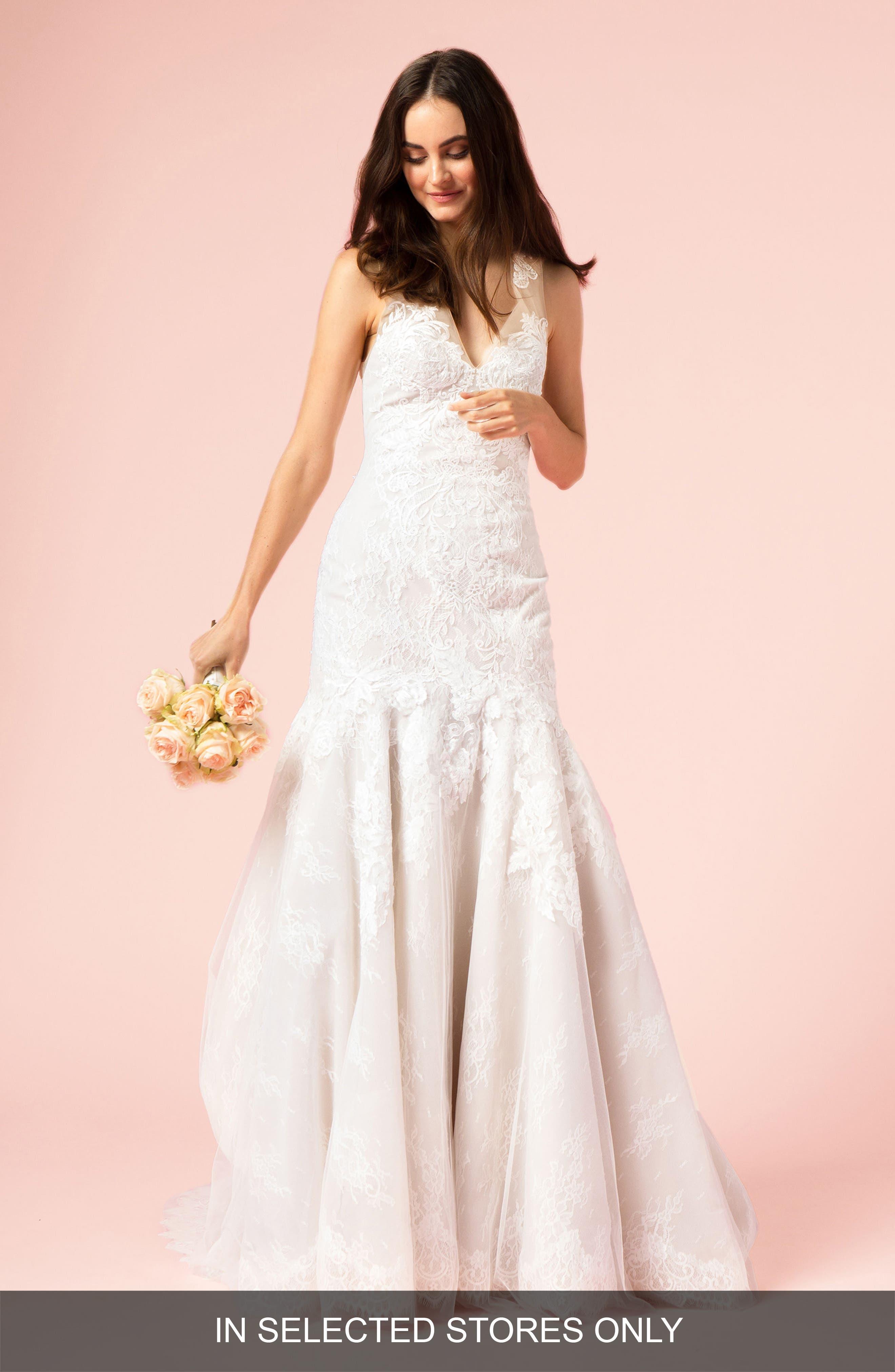 V-Neck Lace Trumpet Gown,                         Main,                         color, SILK WHITE/LATTE