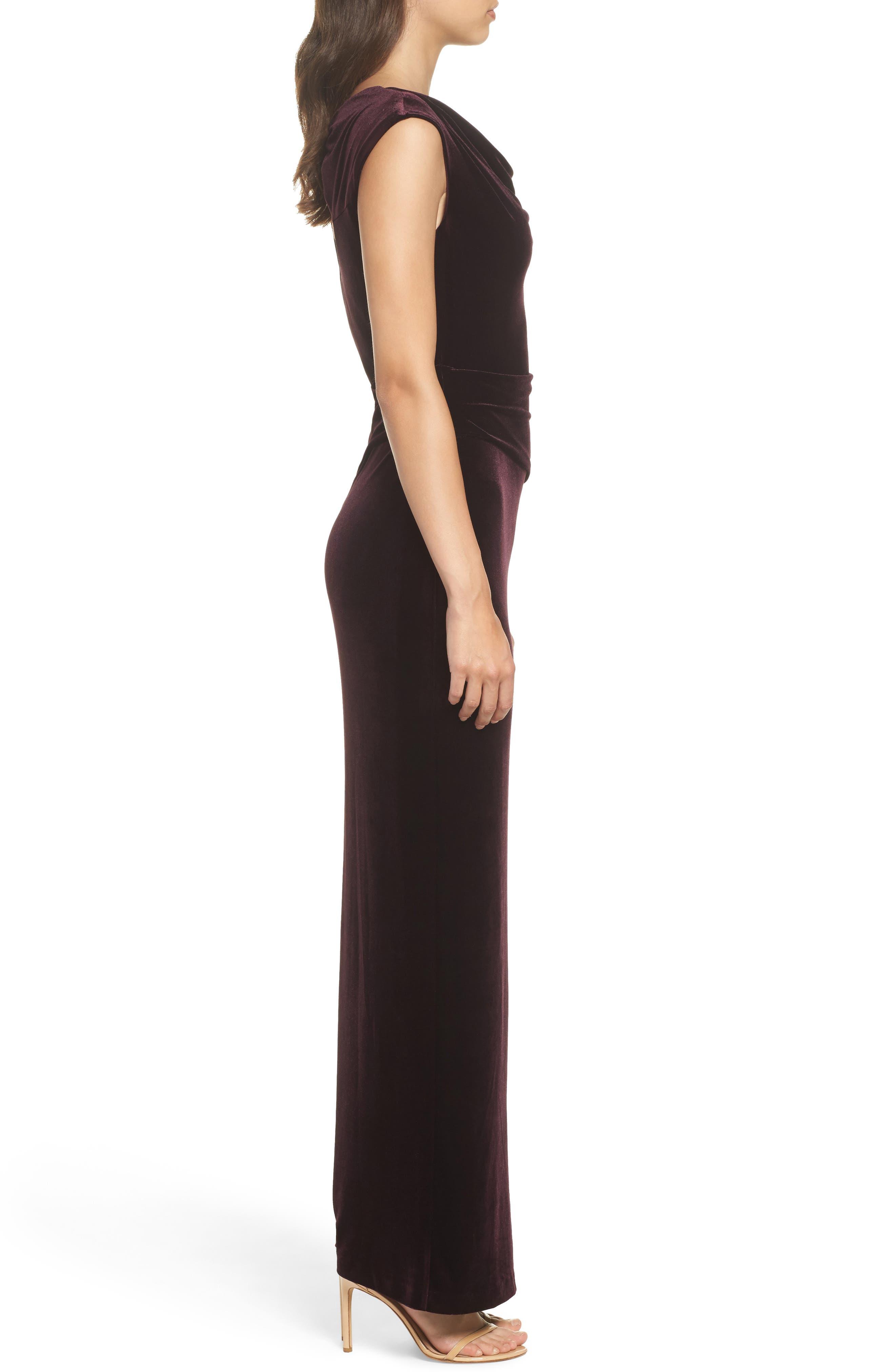Cap Sleeve Draped Velvet Gown,                             Alternate thumbnail 3, color,                             507