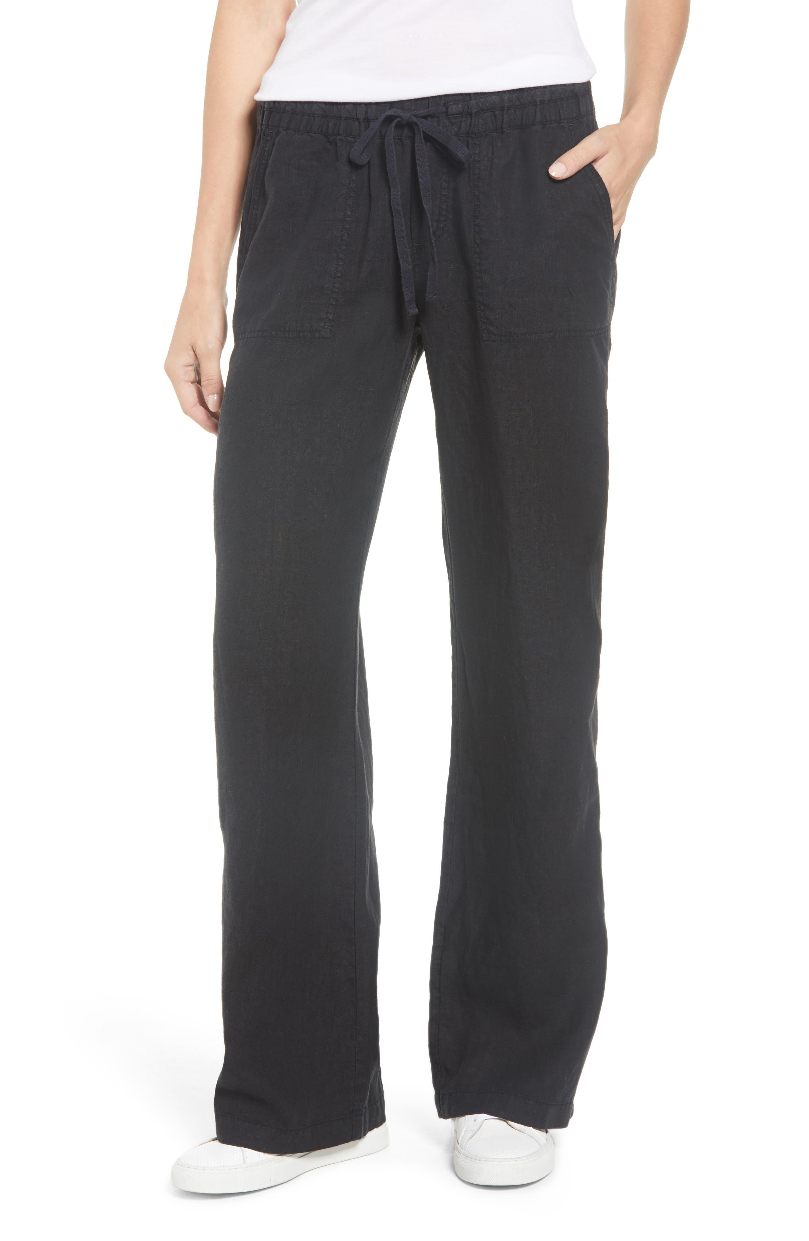 Linen Pants,                             Main thumbnail 1, color,                             BLACK