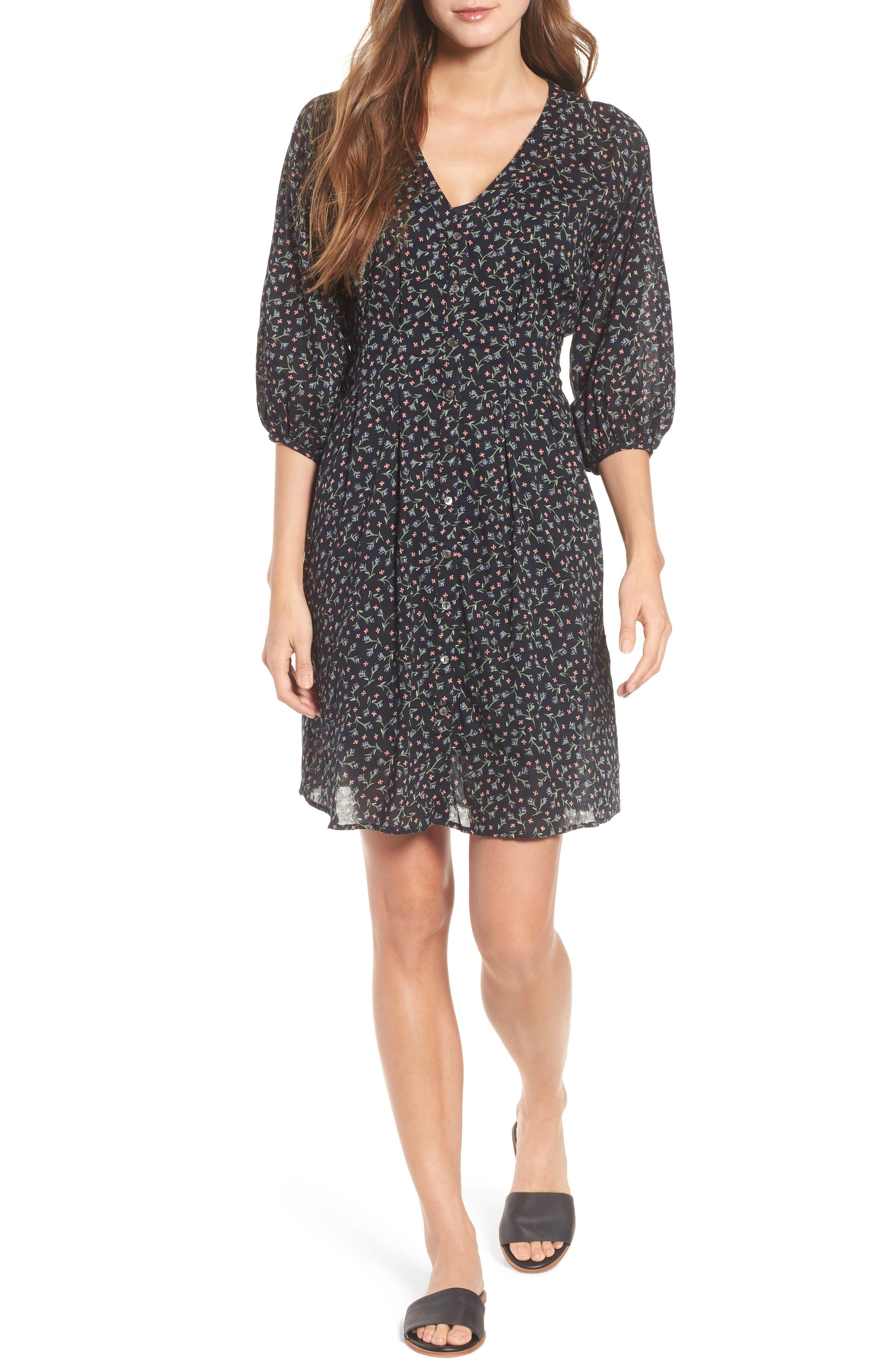 Printed Cotton Voile Dress,                             Main thumbnail 1, color,                             005
