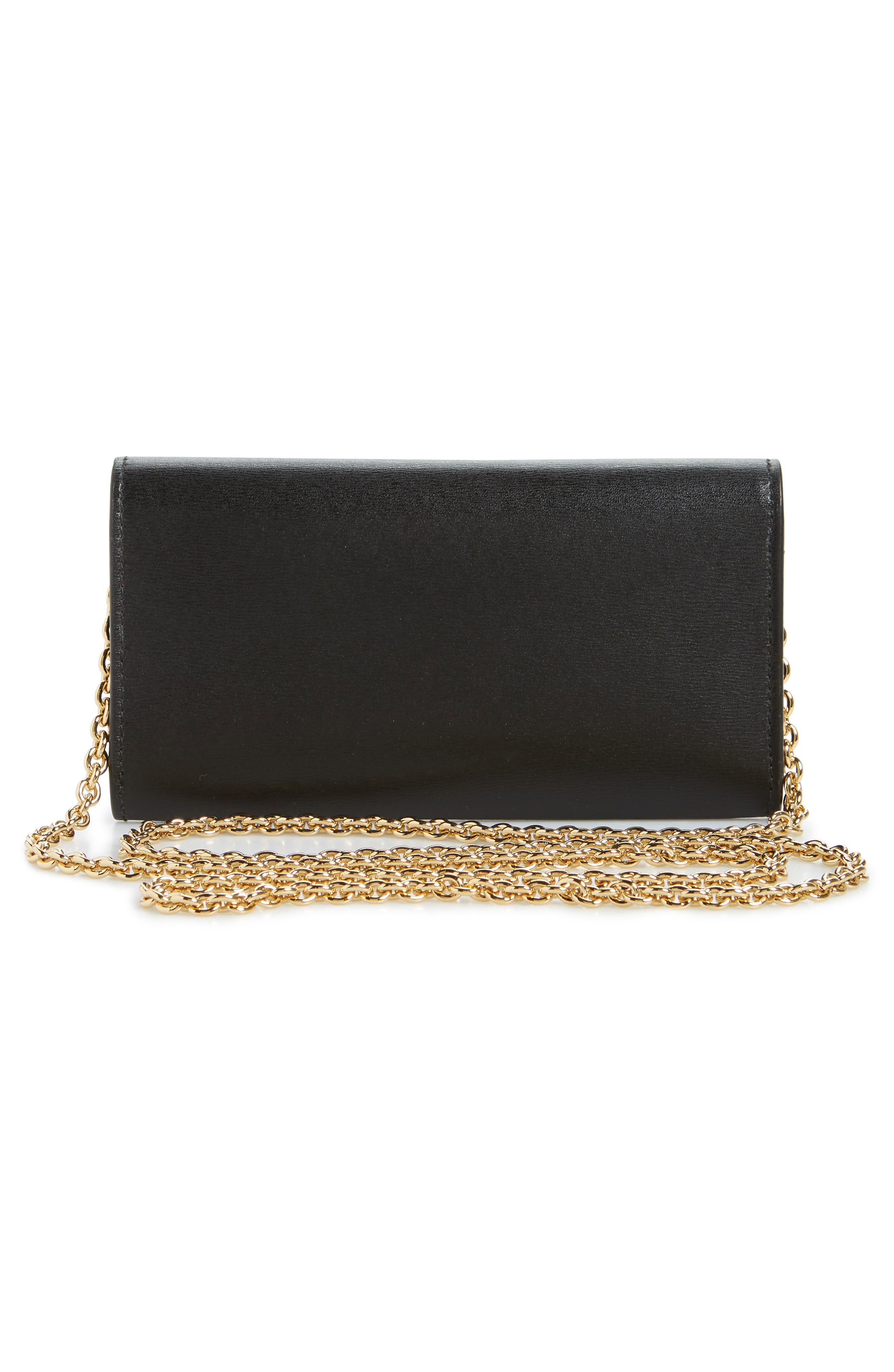 City Quilted Gancio Leather Wallet on a Chain,                             Alternate thumbnail 3, color,                             BLACK