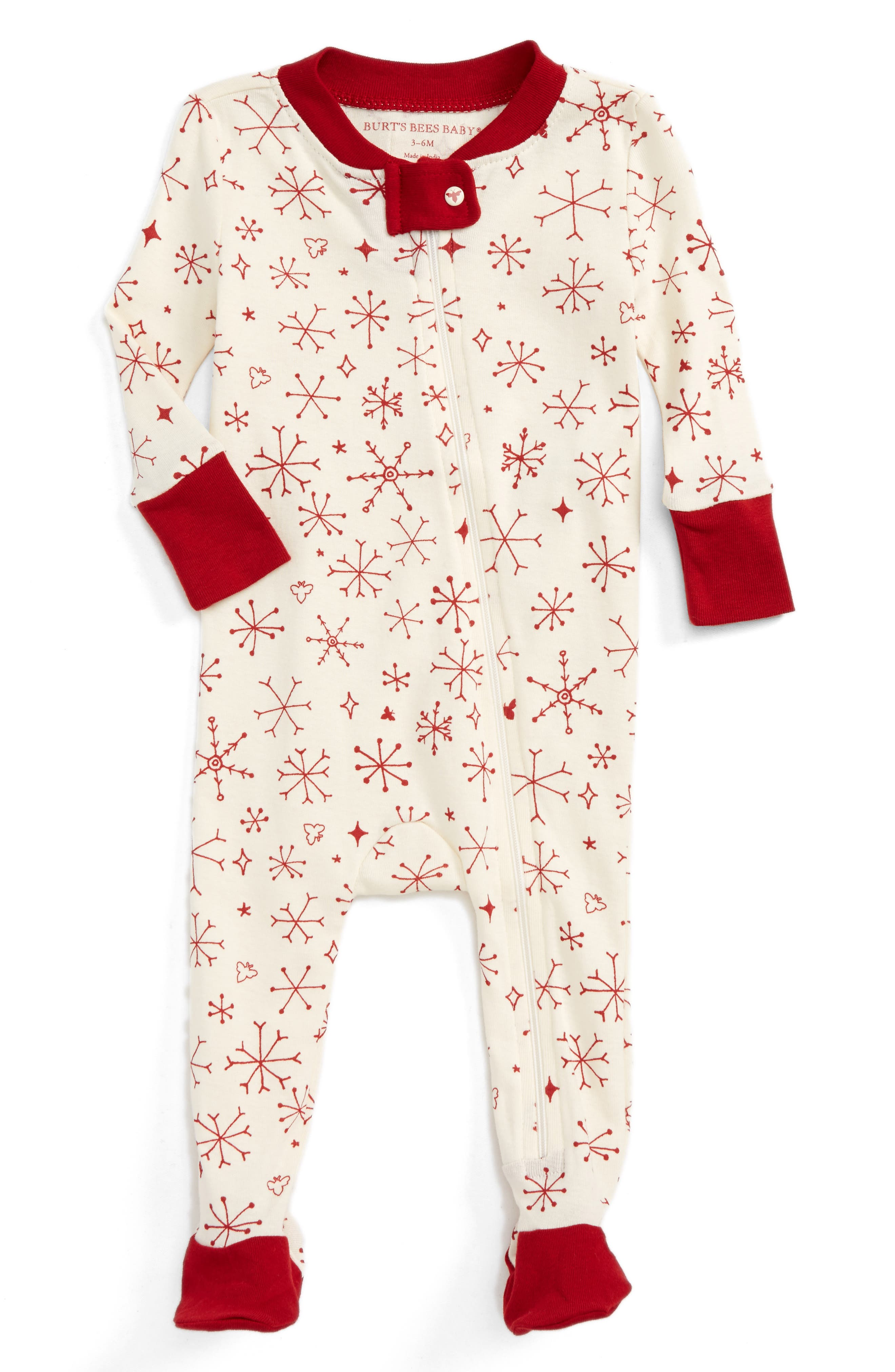 BURT'S BEES BABY,                             Falling Snowflakes Fitted One-Piece Pajamas,                             Main thumbnail 1, color,                             900