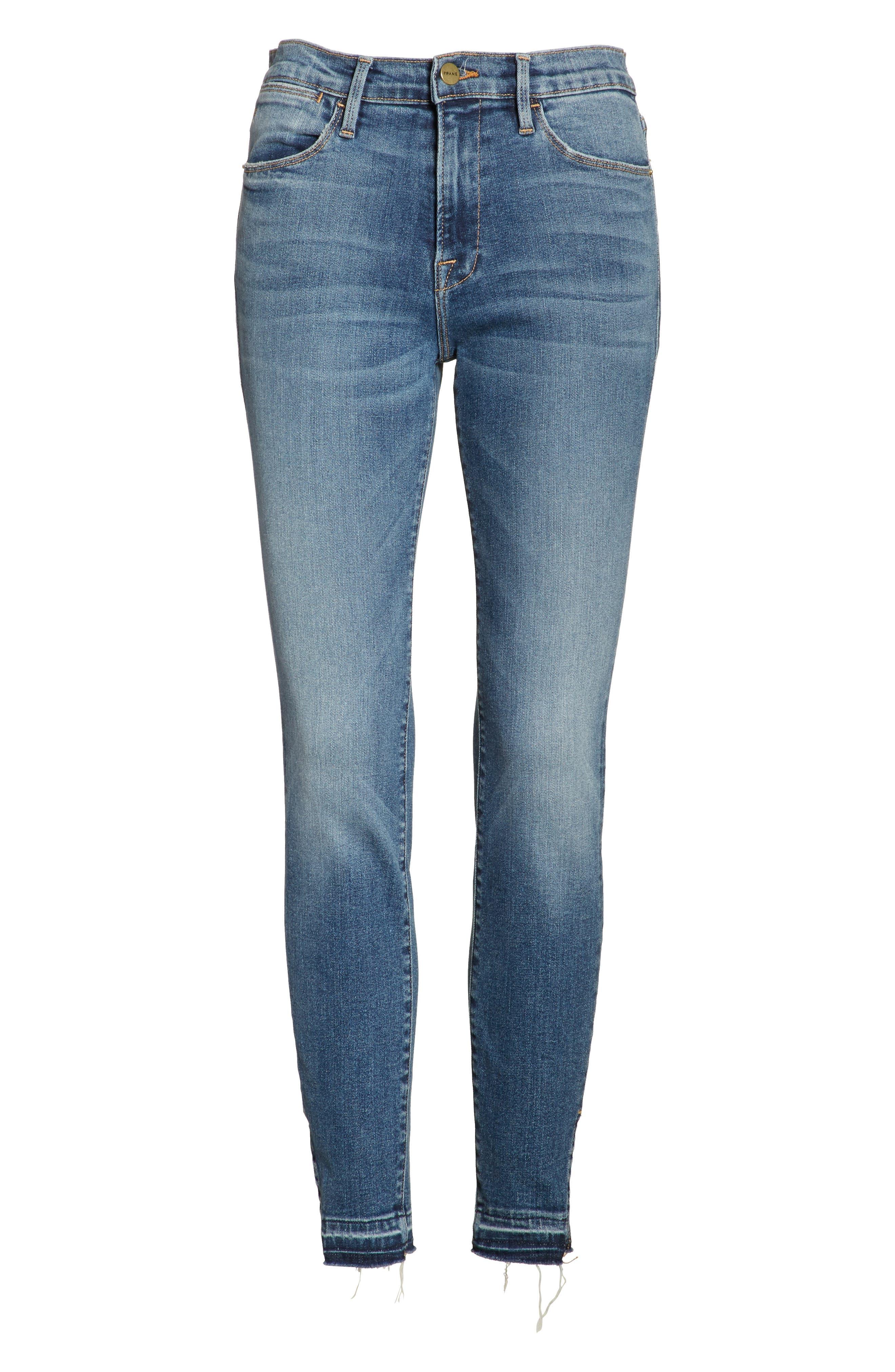 Le High Raw Hem Skinny Jeans,                             Alternate thumbnail 6, color,