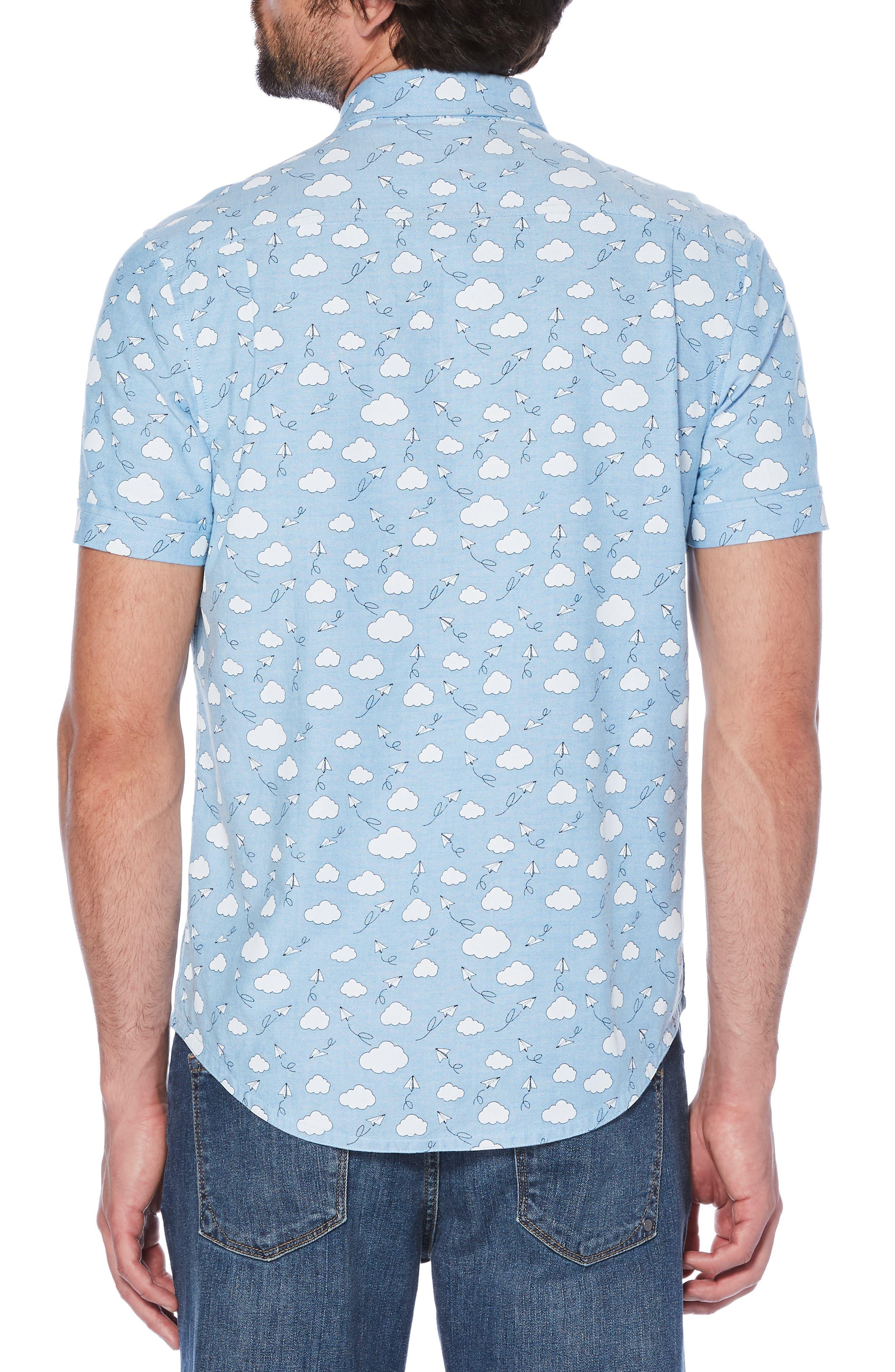 Cloud Print Oxford Shirt,                             Alternate thumbnail 2, color,                             DIVA BLUE