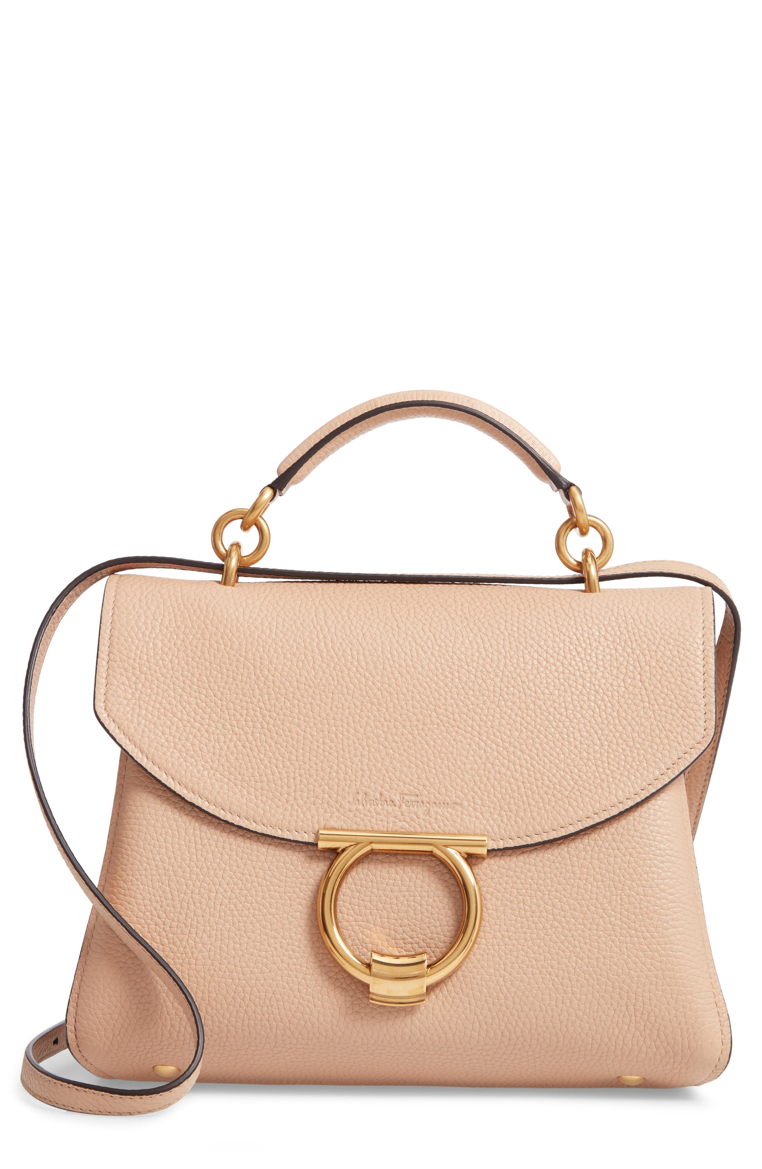Small Margot Leather Top Handle Bag,                             Main thumbnail 1, color,                             ALMOND
