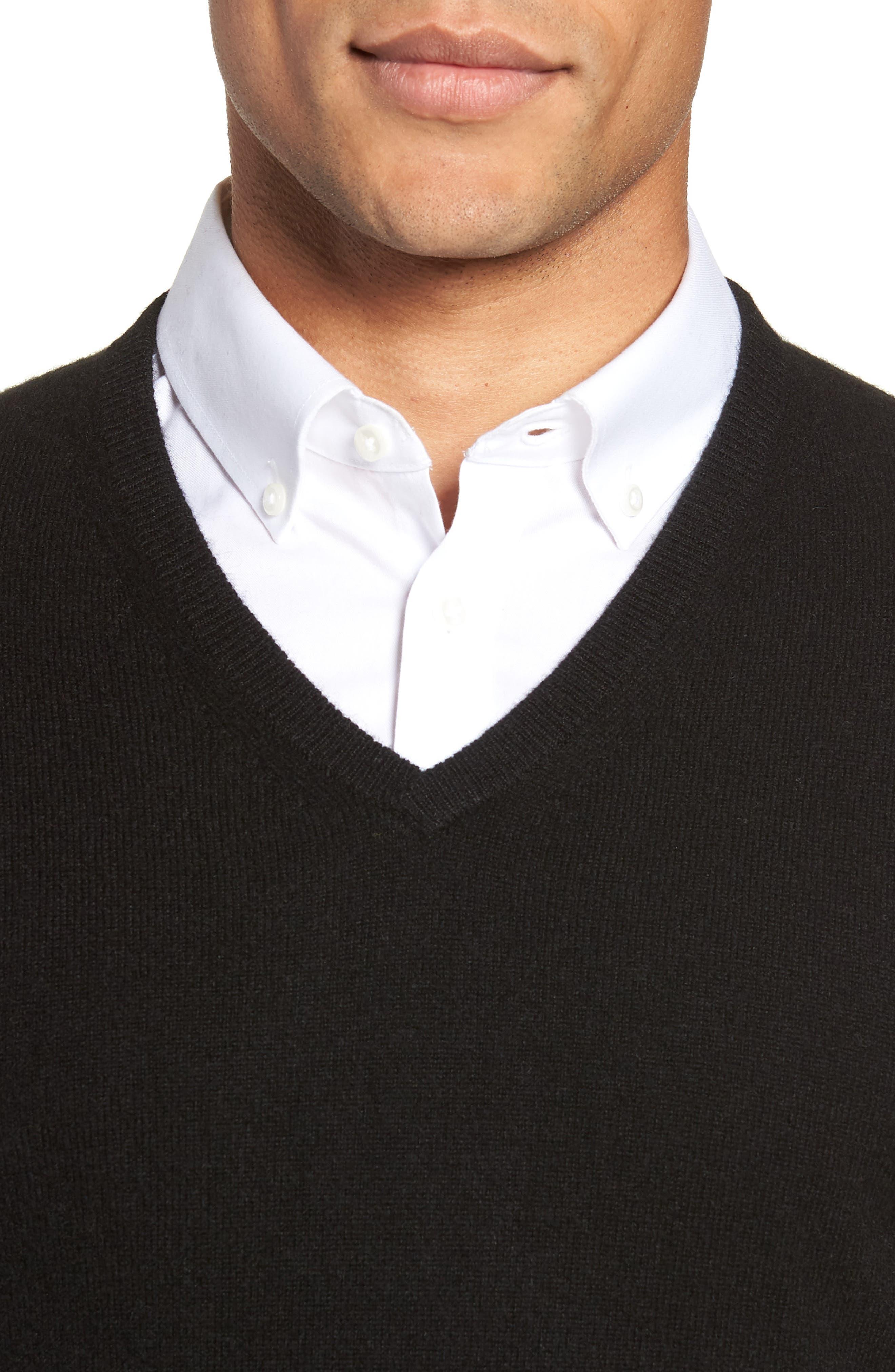 V-Neck Cashmere Sweater,                             Alternate thumbnail 4, color,                             BLACK JET