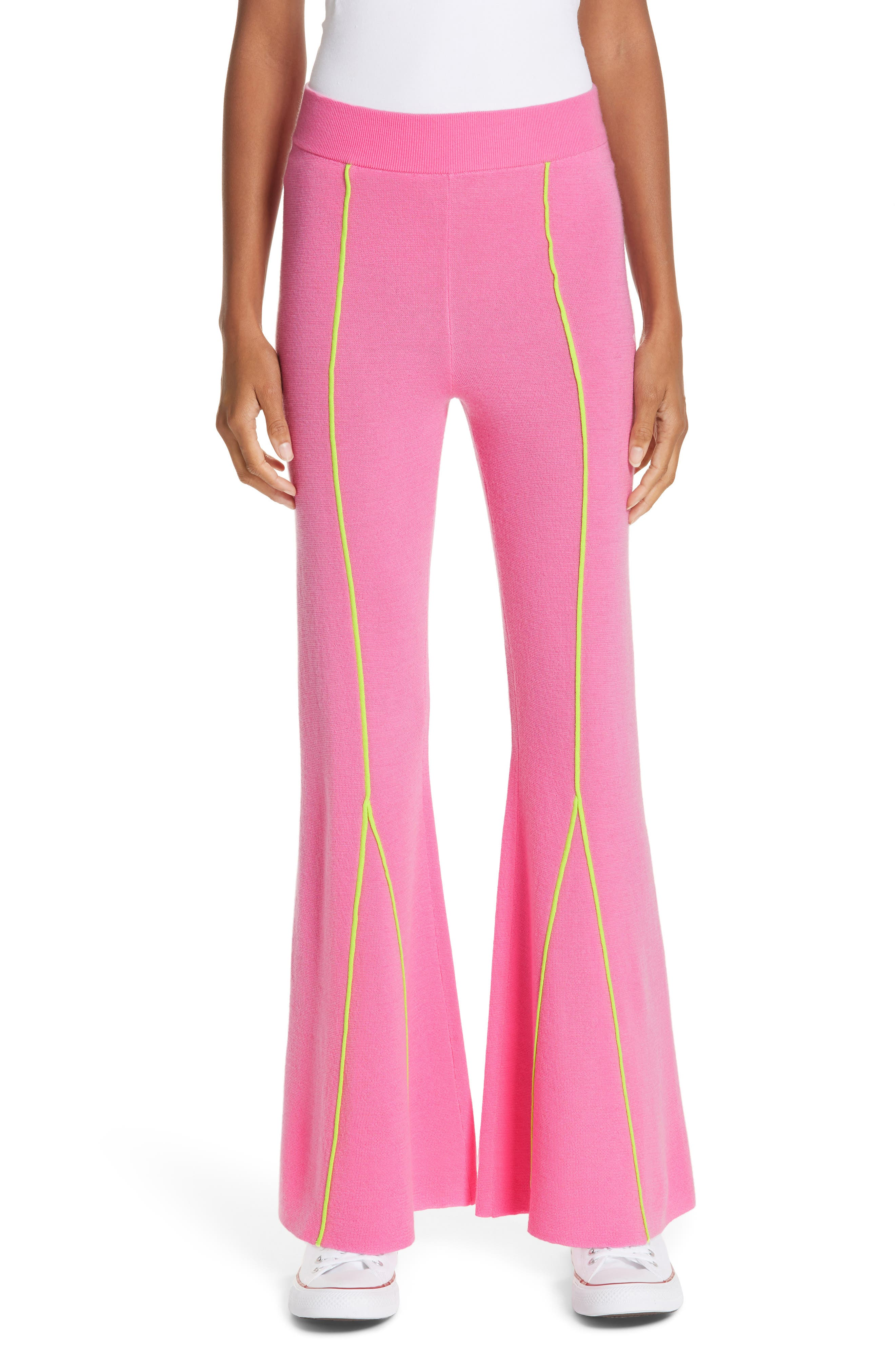 Victor Glemaud Knitted Flare Wool Pants, Pink