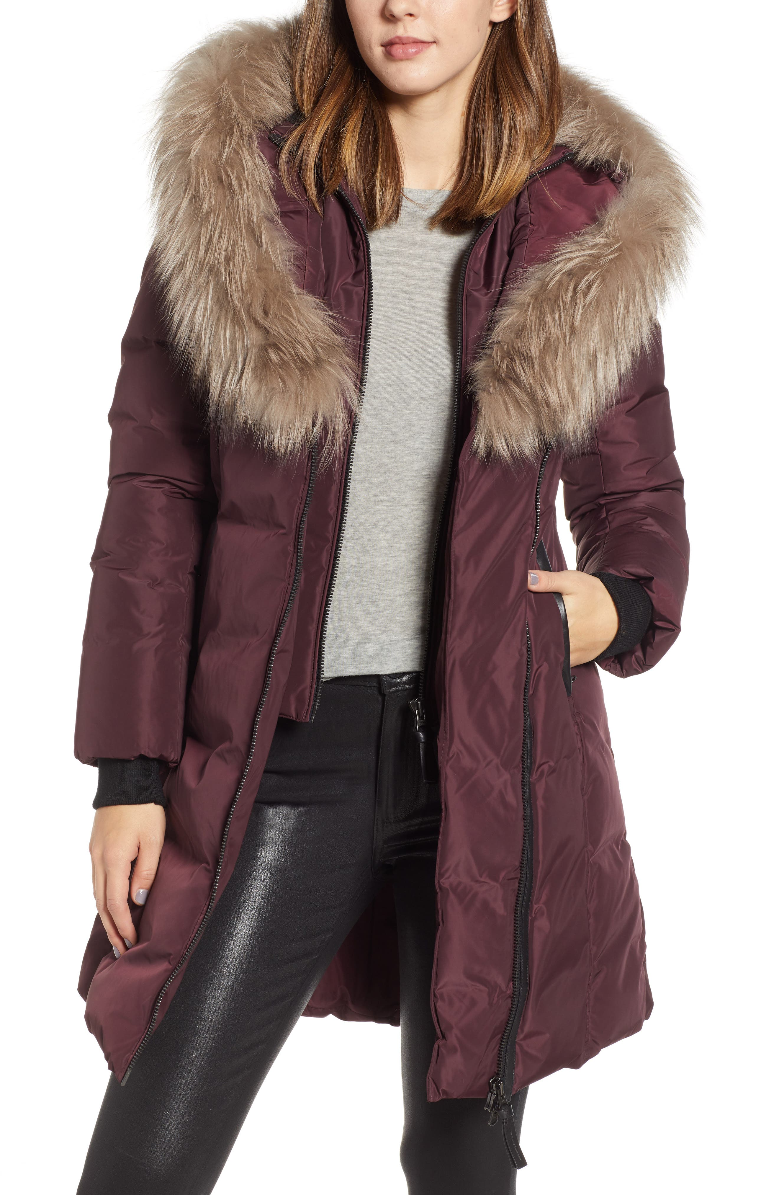 Mackage 800 Fill Power Down Coat With Genuine Fox Fur Trim, Burgundy