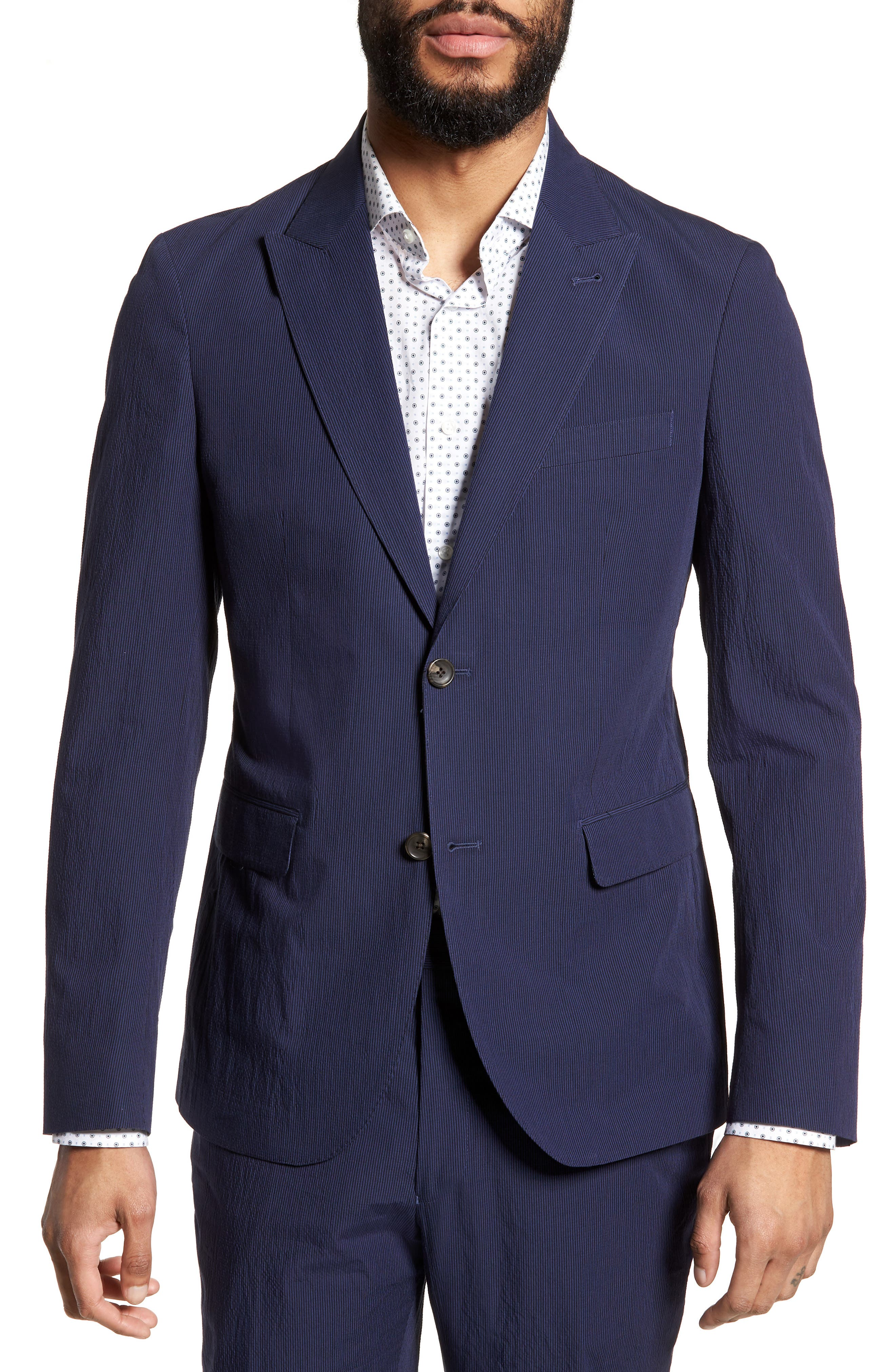 Volante Seersucker Suit Jacket,                         Main,                         color, 400