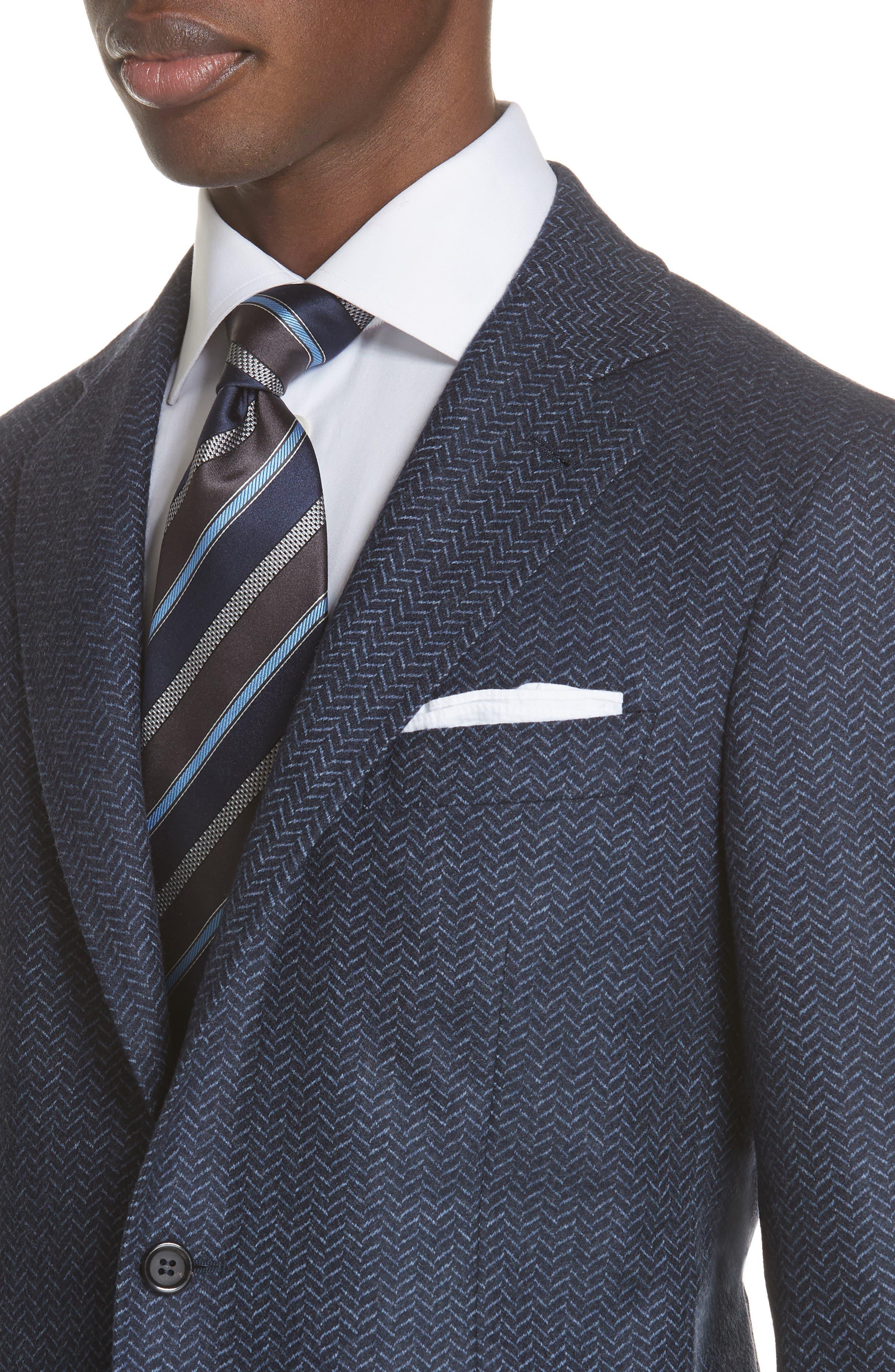Classic Fit Herringbone Wool Sport Coat,                             Alternate thumbnail 4, color,                             DARK BLUE