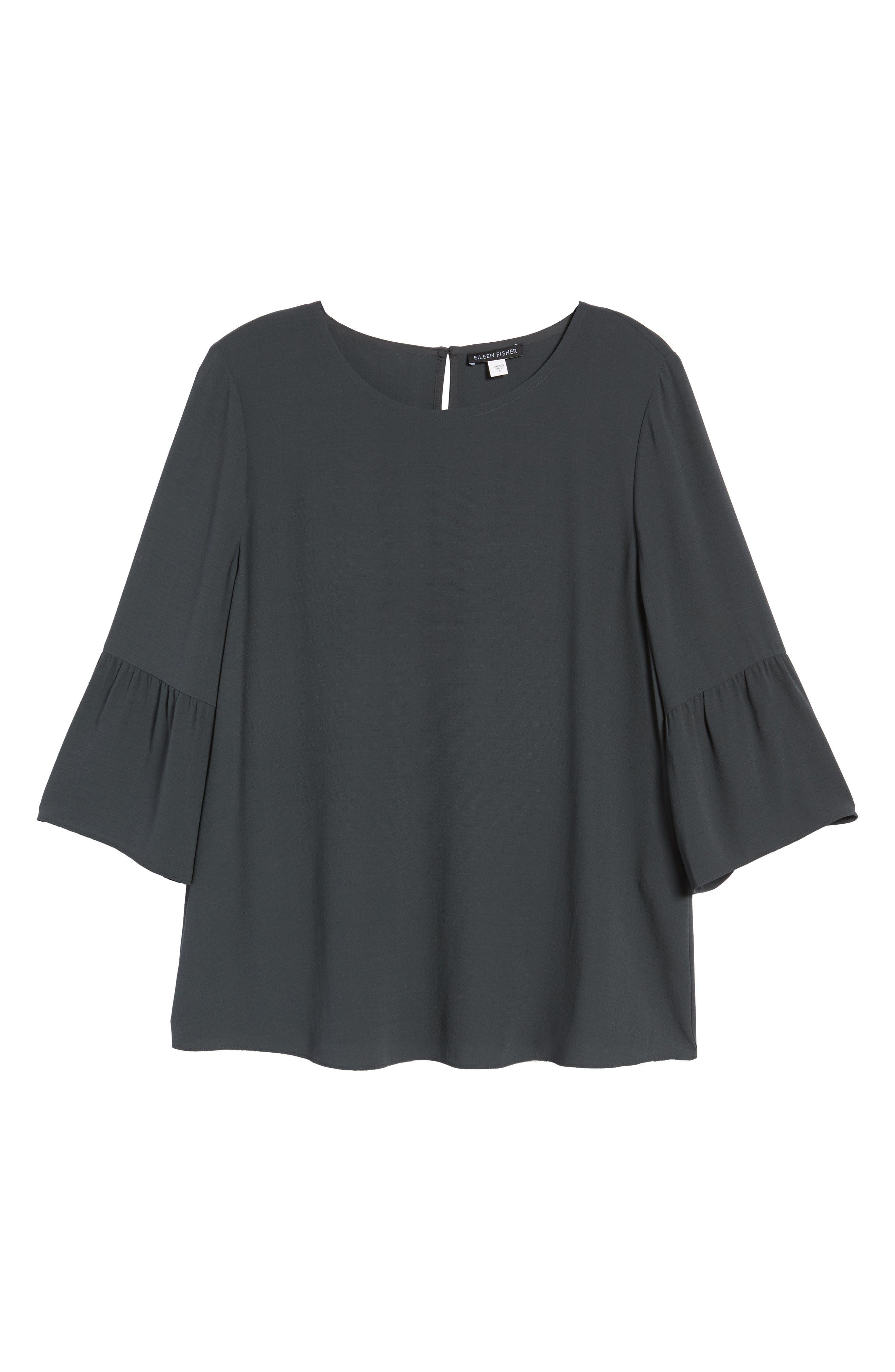 Ruffled Sleeve Silk Top,                             Alternate thumbnail 7, color,                             025