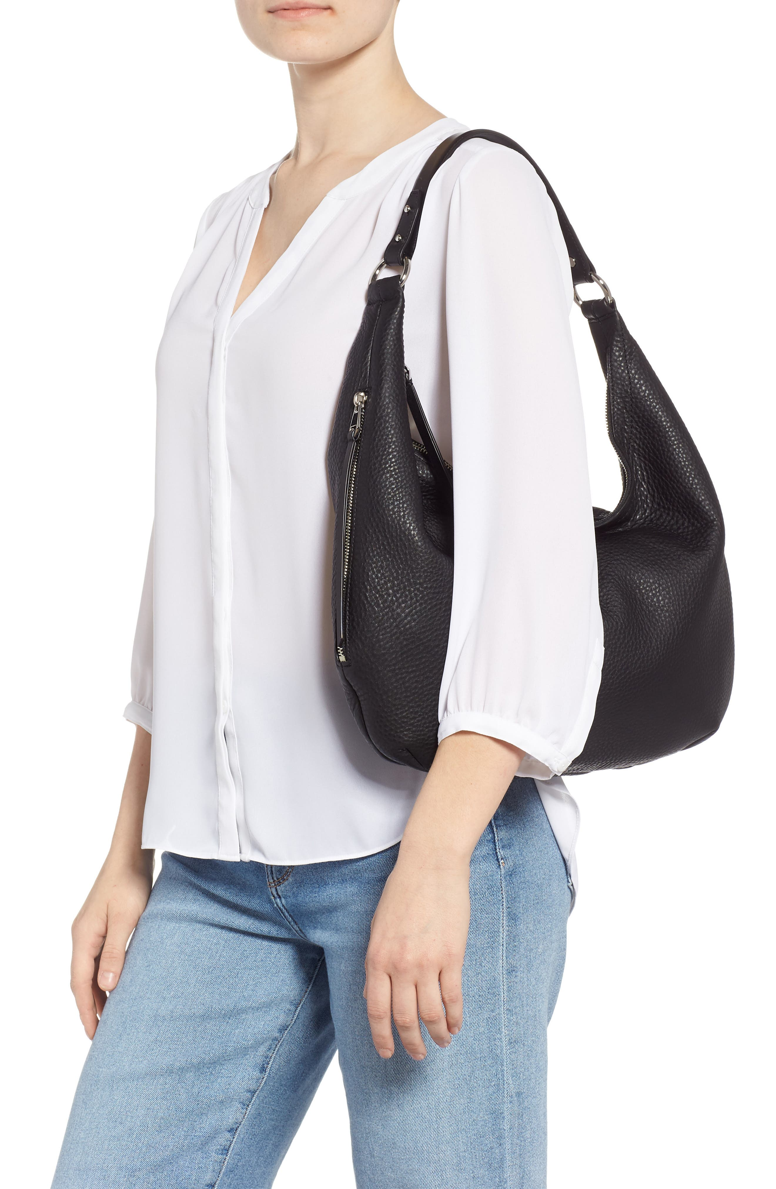 Michelle Leather Hobo,                             Alternate thumbnail 2, color,                             JET BLACK