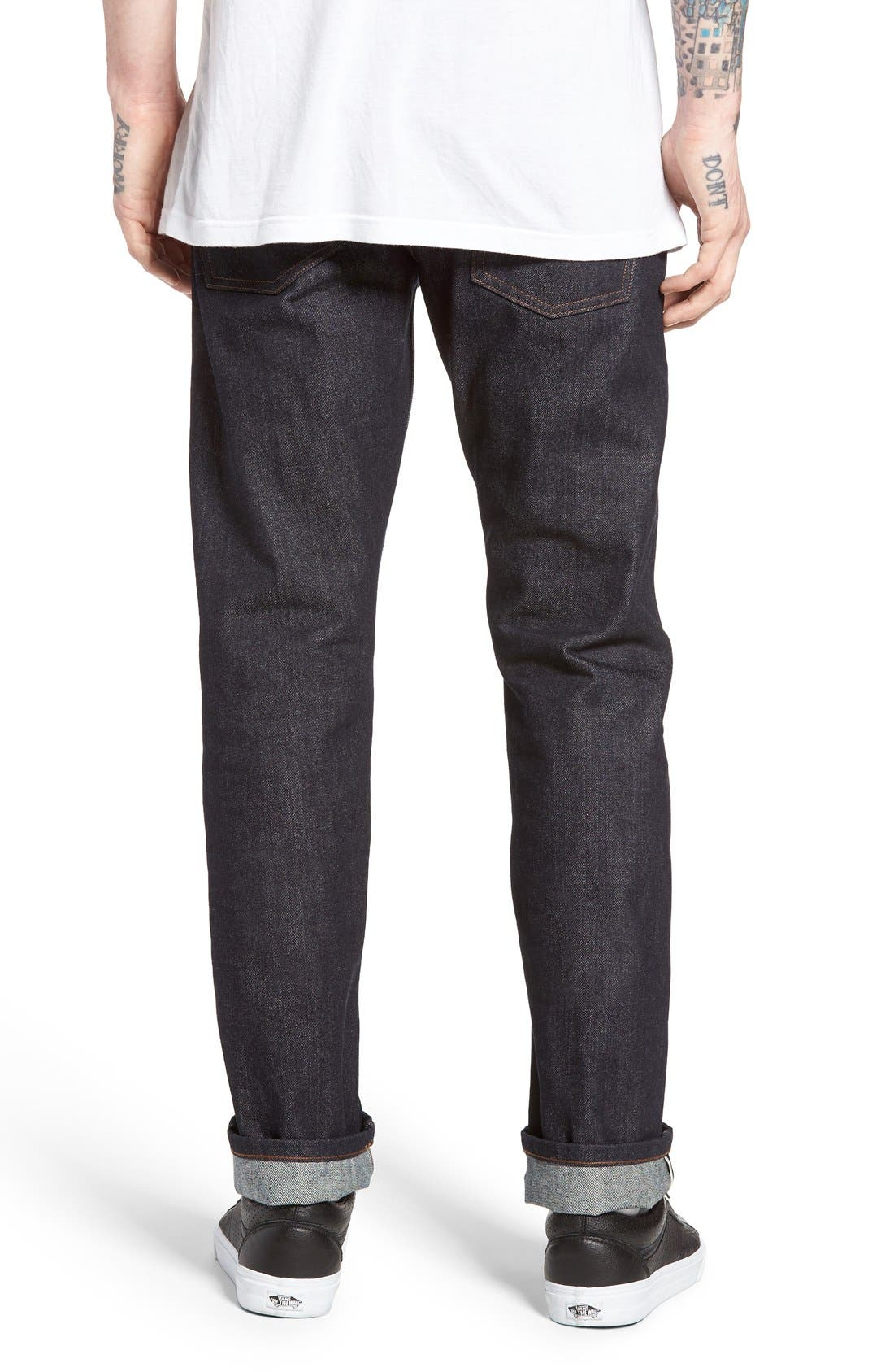 UB201 Tapered Fit Raw Selvedge Jeans,                             Alternate thumbnail 10, color,                             INDIGO