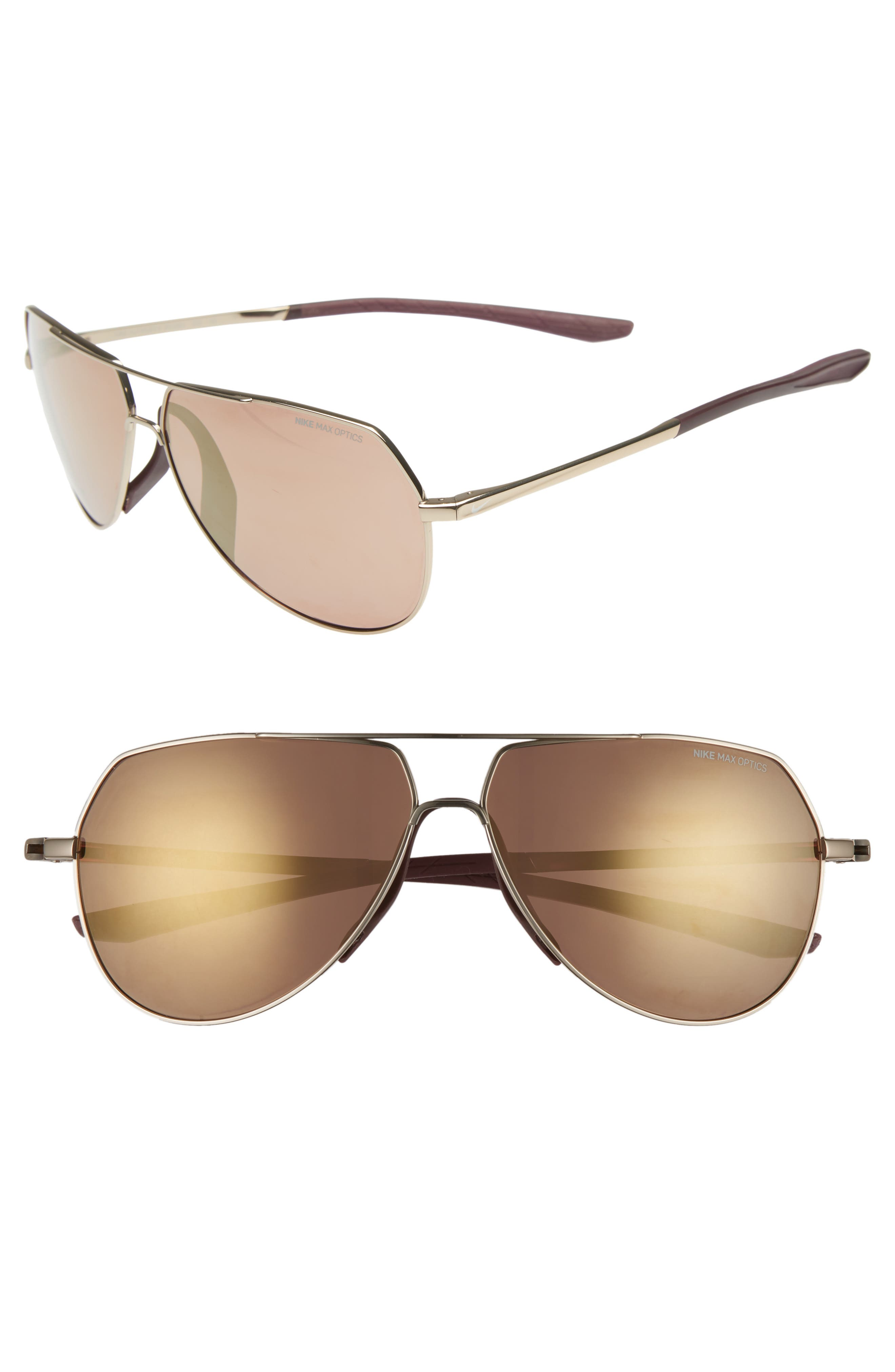 Nike Outrider E 62Mm Oversize Aviator Sunglasses - Copper/ Brown Bronze