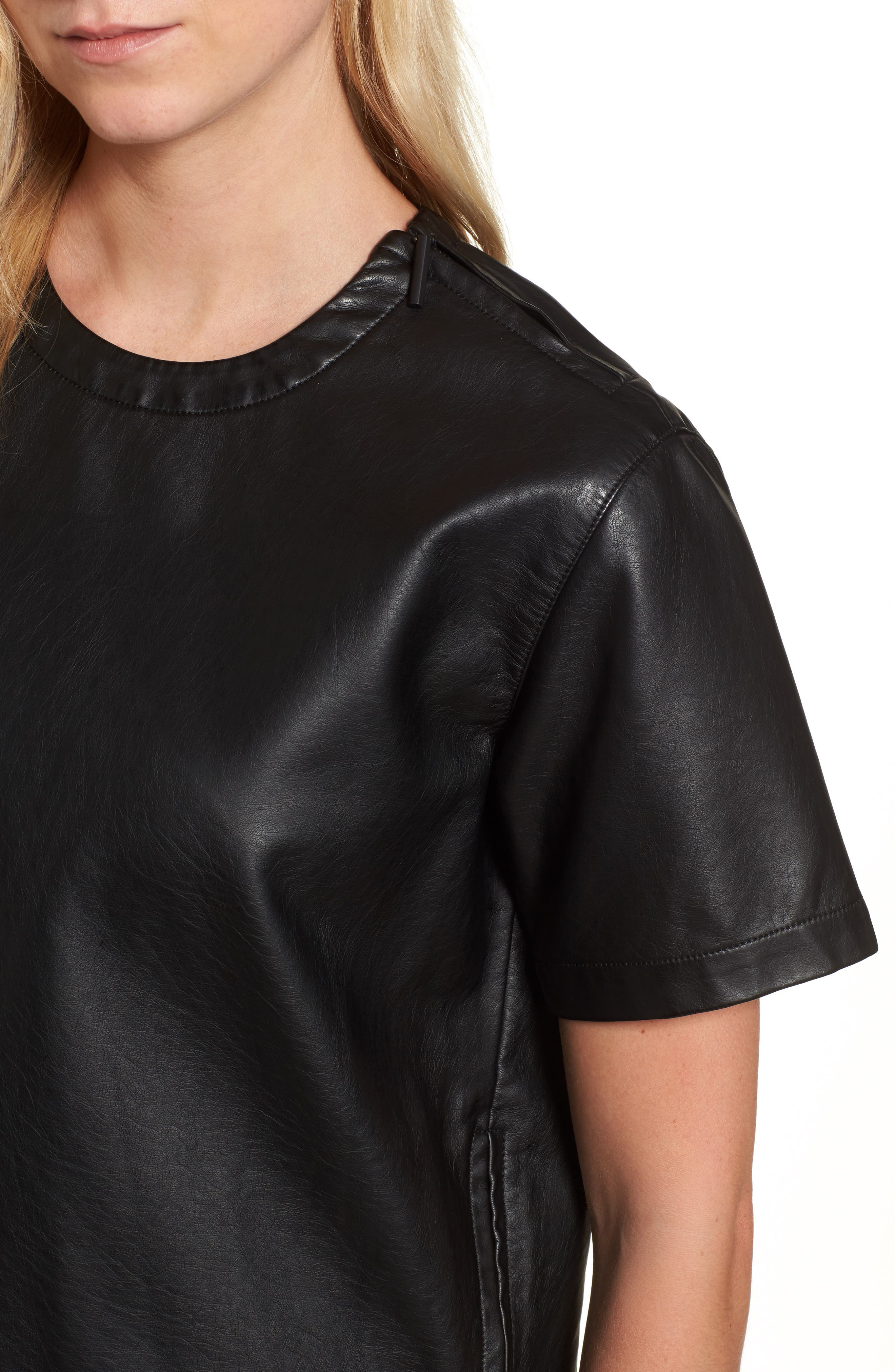 Faux Leather Tee,                             Alternate thumbnail 4, color,