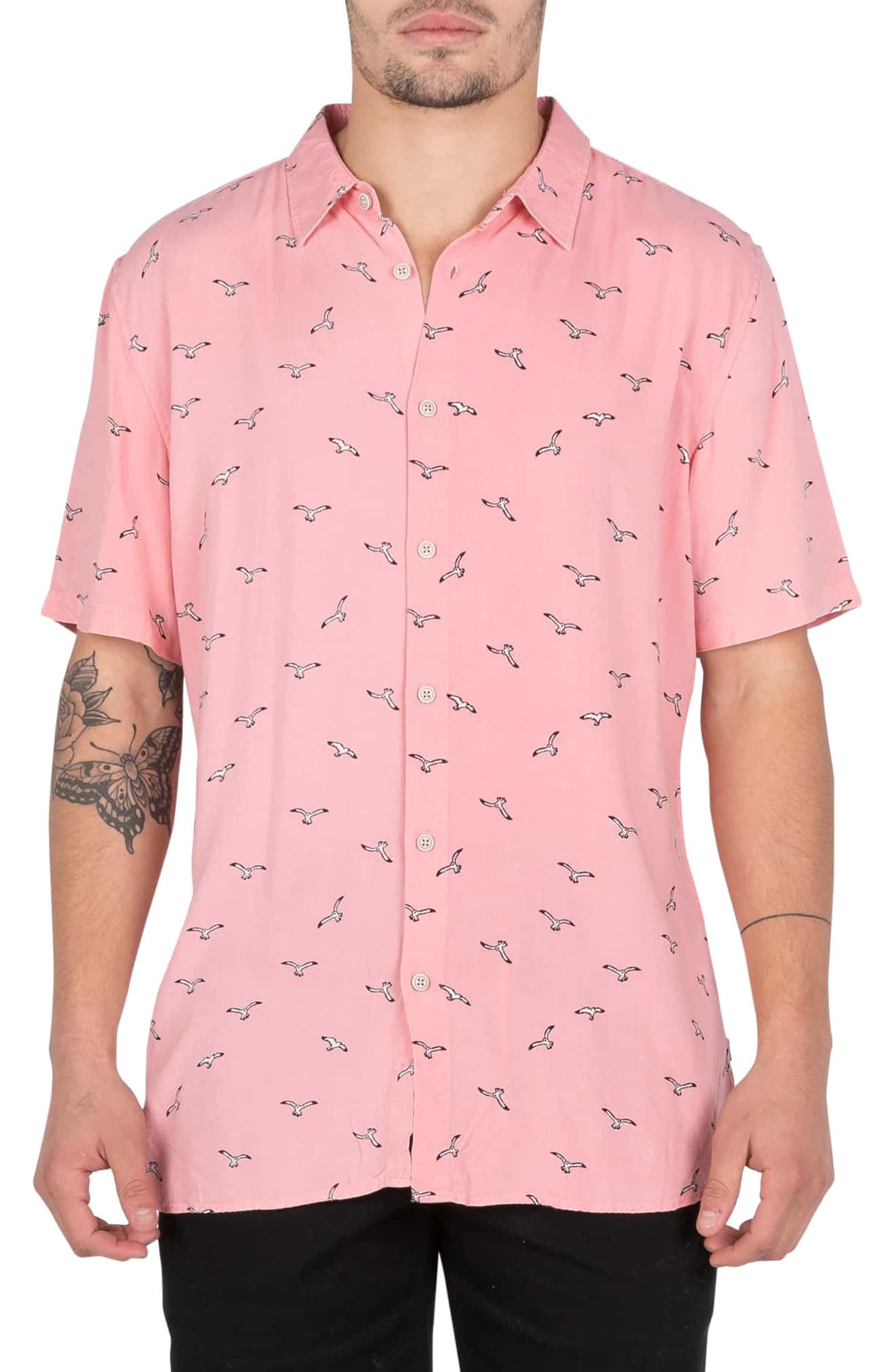 BARNEY COOLS Seagull Print Shirt in Pink Seagull