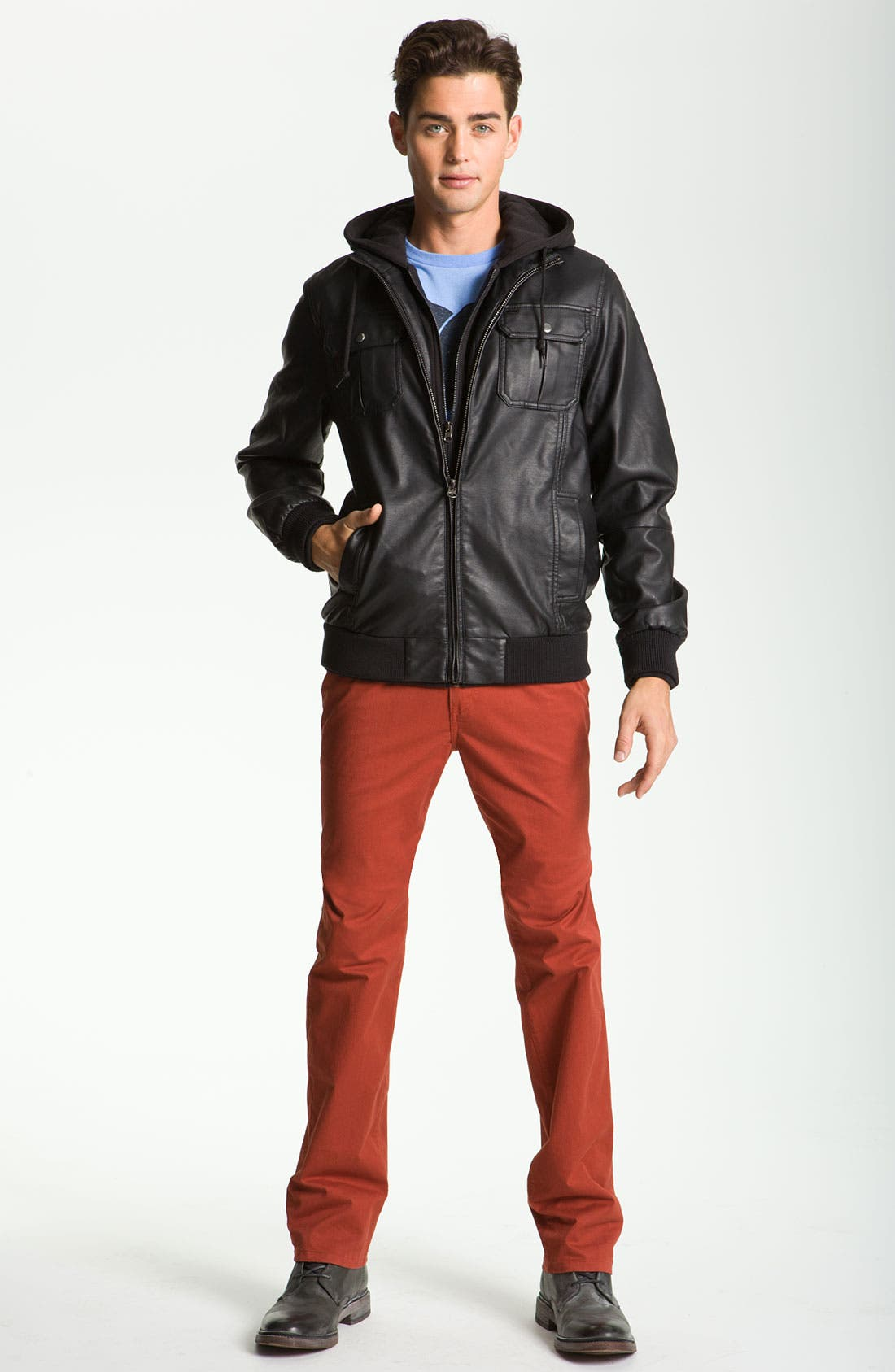 'Rapture' Trim Fit Layered Faux Leather Jacket,                             Alternate thumbnail 3, color,                             001