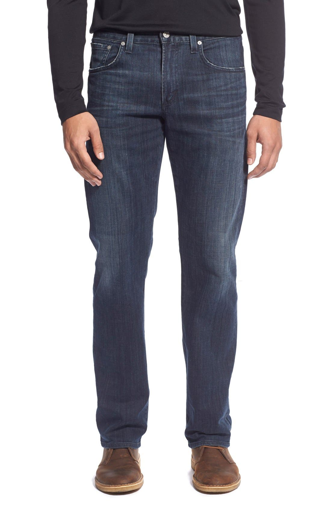 Perfect Relaxed Straight Leg Jeans,                             Main thumbnail 1, color,                             GUITAR