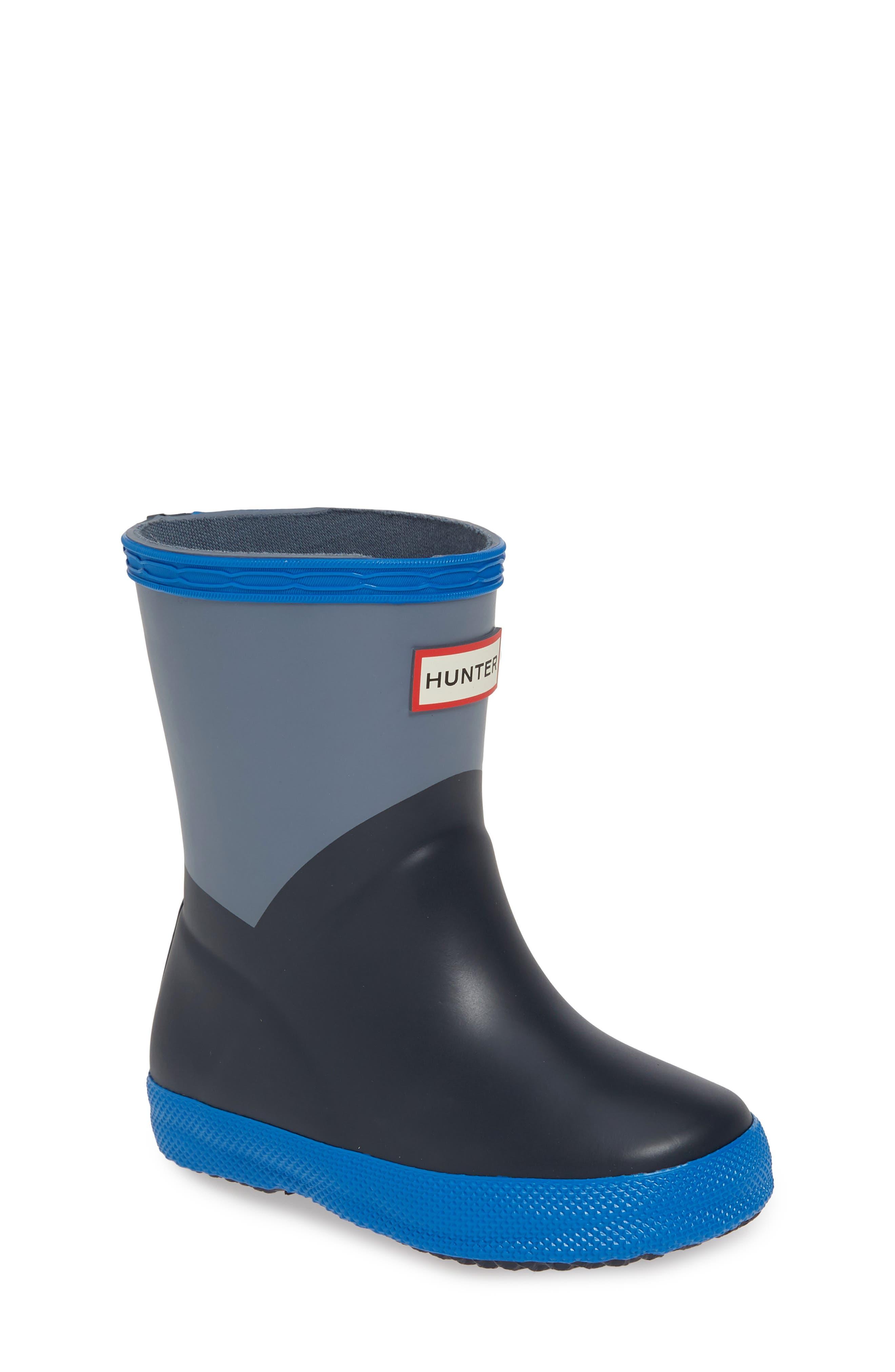 HUNTER First Classic Waterproof Rain Boot, Main, color, GULL GREY/ BUCKET BLUE/ NAVY